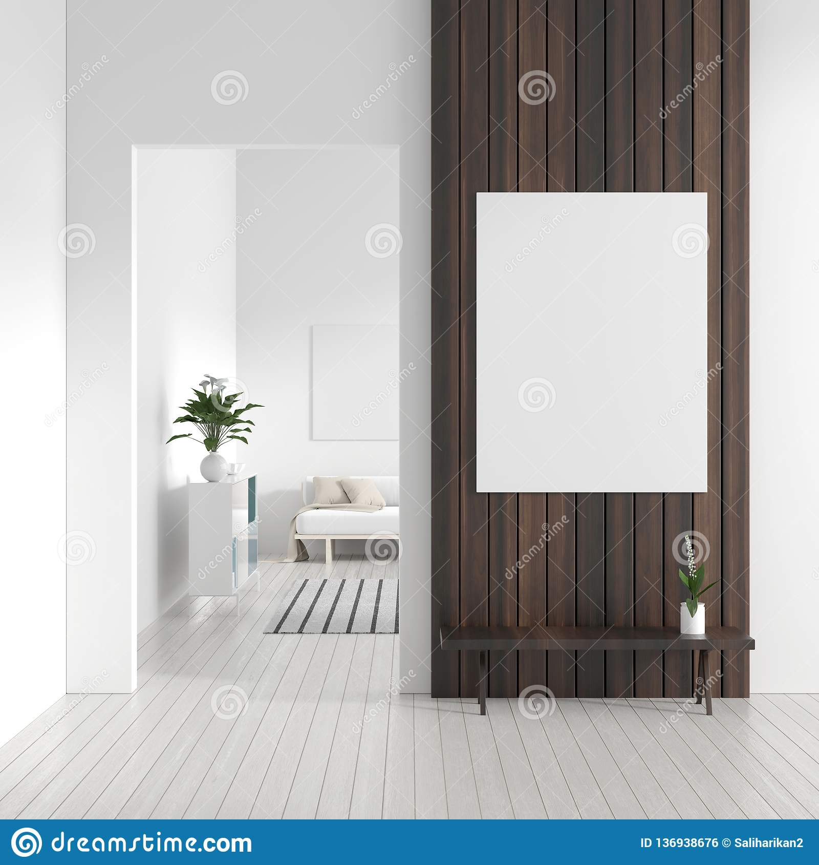 Глумитесь вверх по рамке плаката в скандинавском интерьере битника стиля Белый современный интерьер современной живущей комнаты и