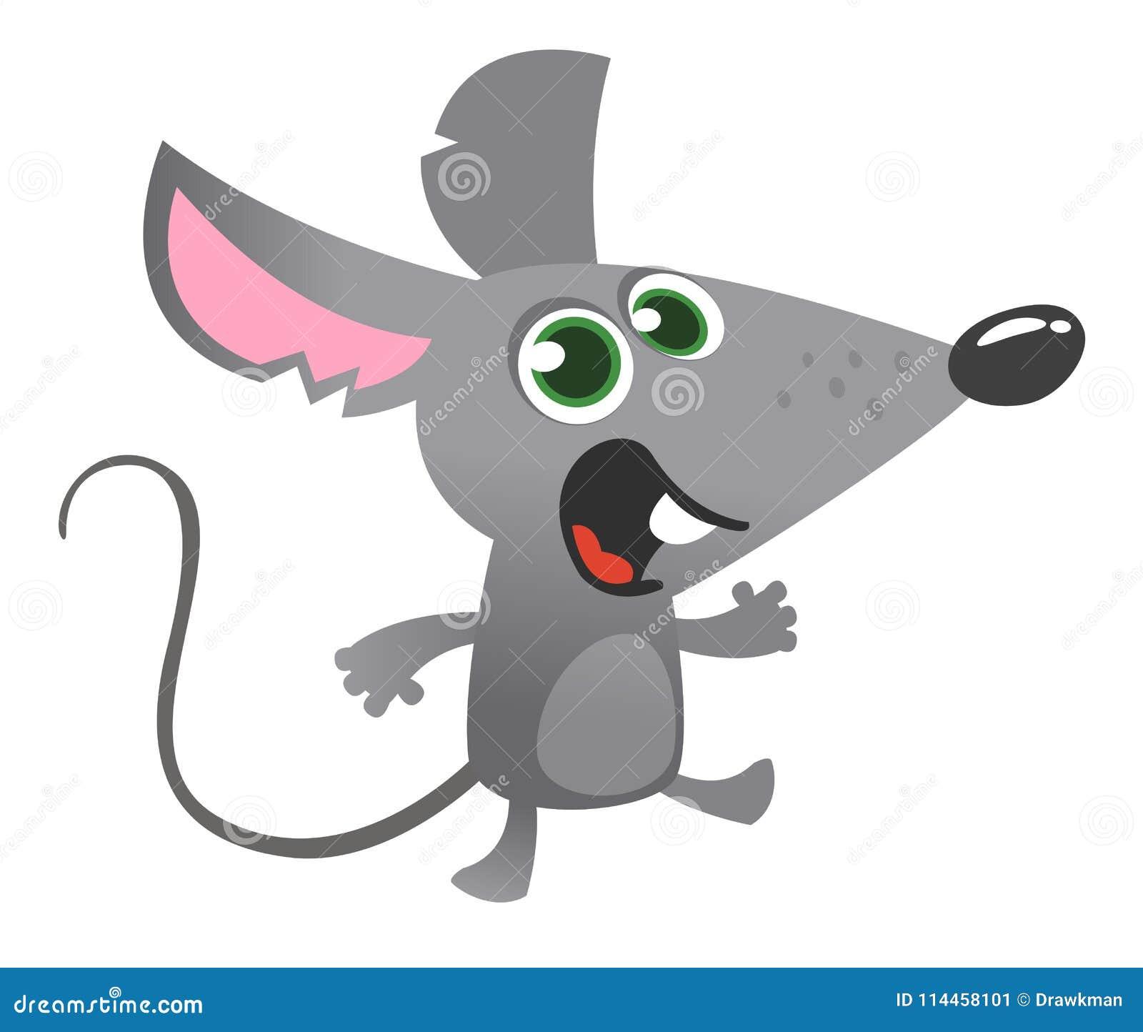 Говорить мыши шаржа серый Изолированная иллюстрация вектора Большой для дизайна украшения или стикера
