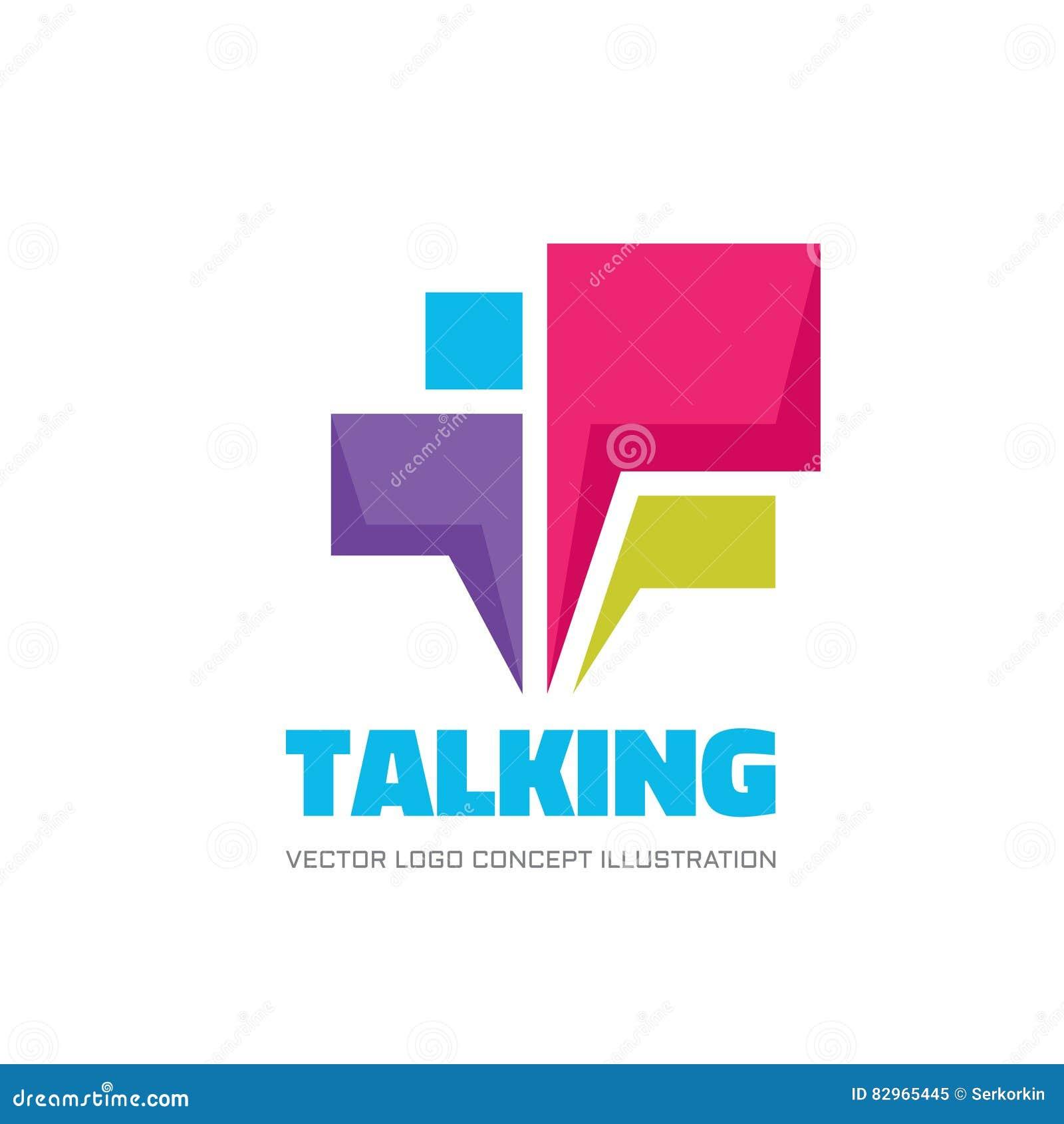 Говорить - речь клокочет иллюстрация концепции логотипа вектора в плоском стиле Значок диалога знак болтовни Социальный символ ср