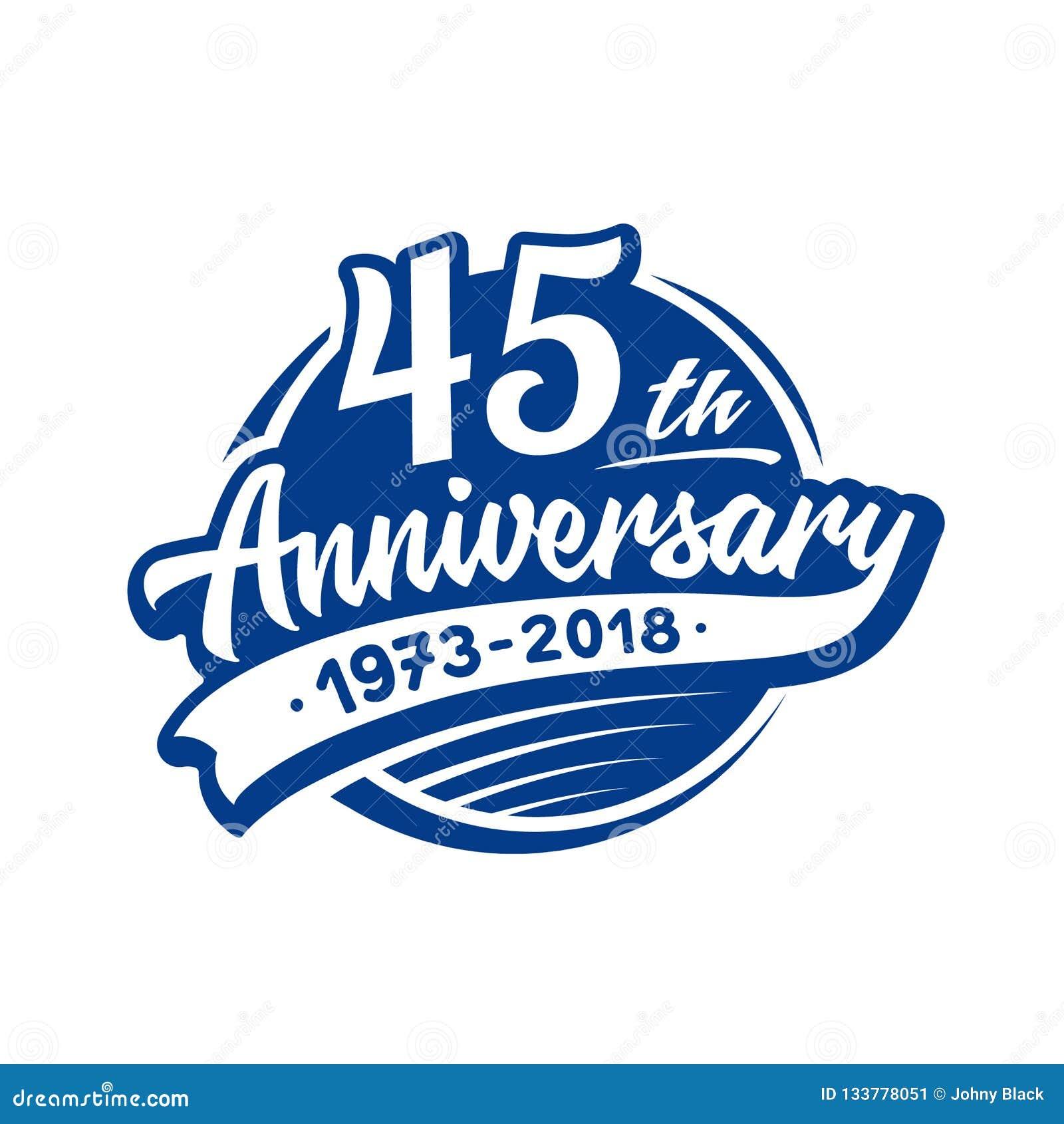 45 годовщины лет шаблона дизайна Вектор и иллюстрация 45th логотип