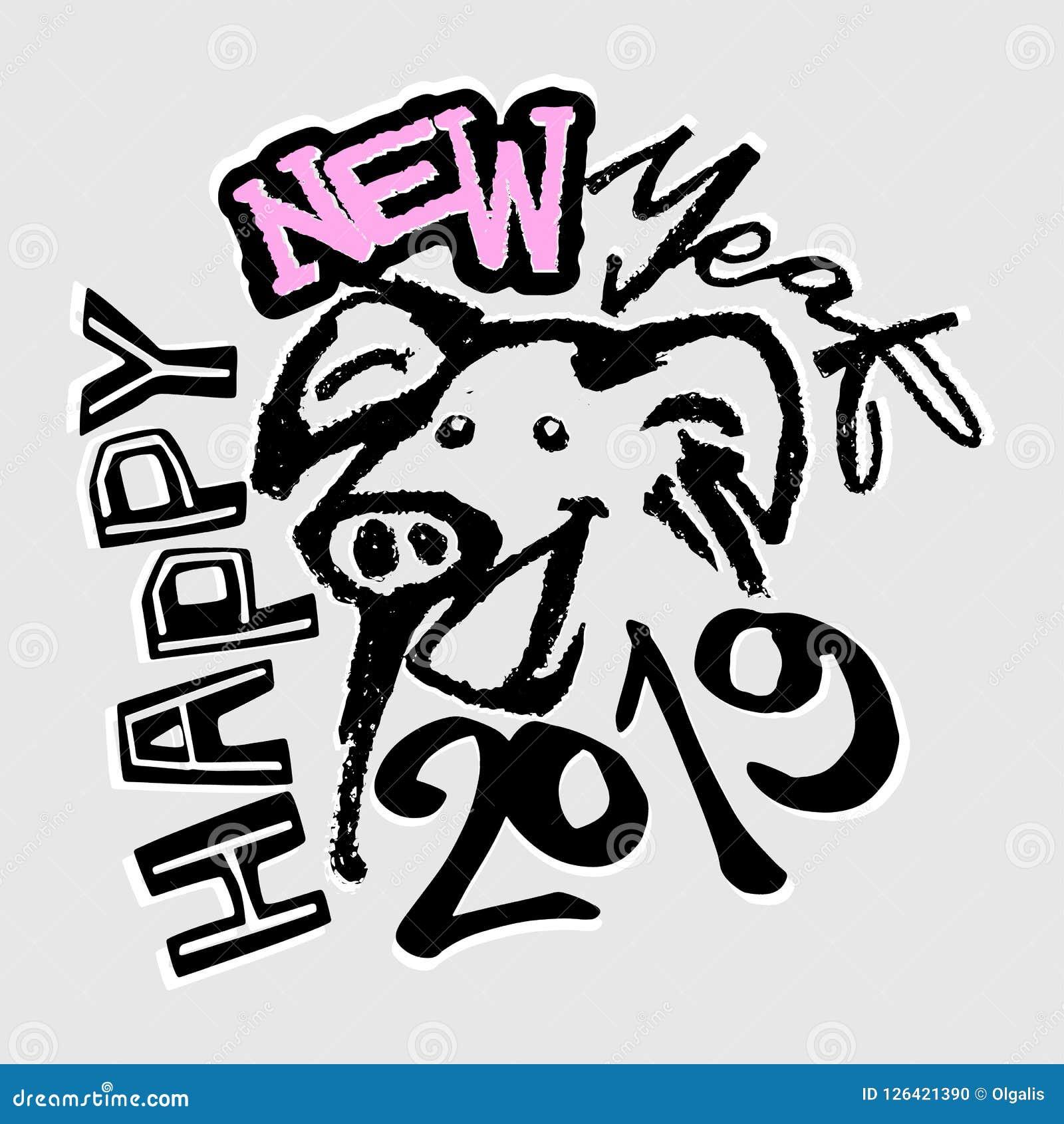 Год знака зодиака 2019 китайцев печати свиньи в стиле фанк