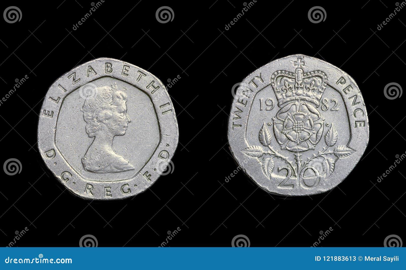 Год 1982 пенни монетки 20 Англии