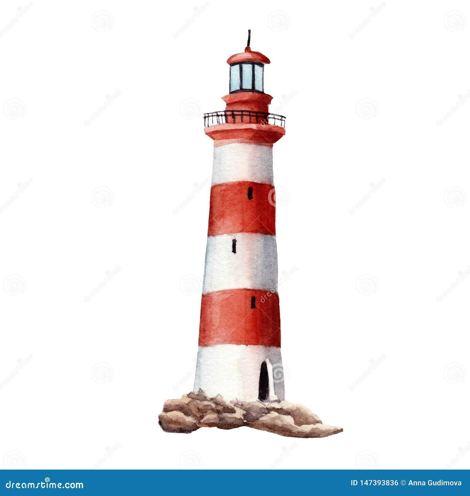 Год сбора винограда акварели руки вычерченный красный и белый изолированный маяк
