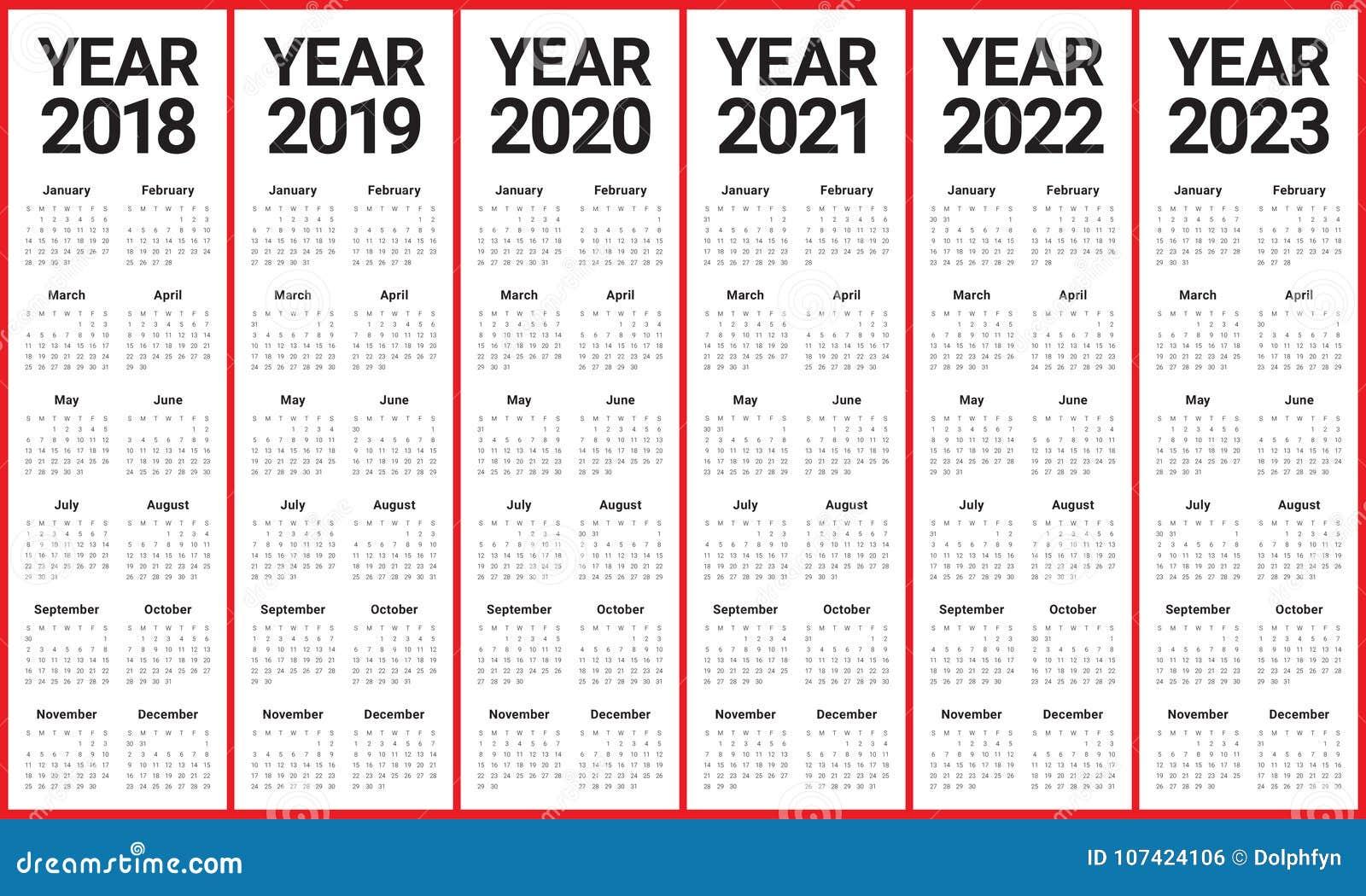 Год 2018 2019 2020 2021 2022 2023 calendar вектор