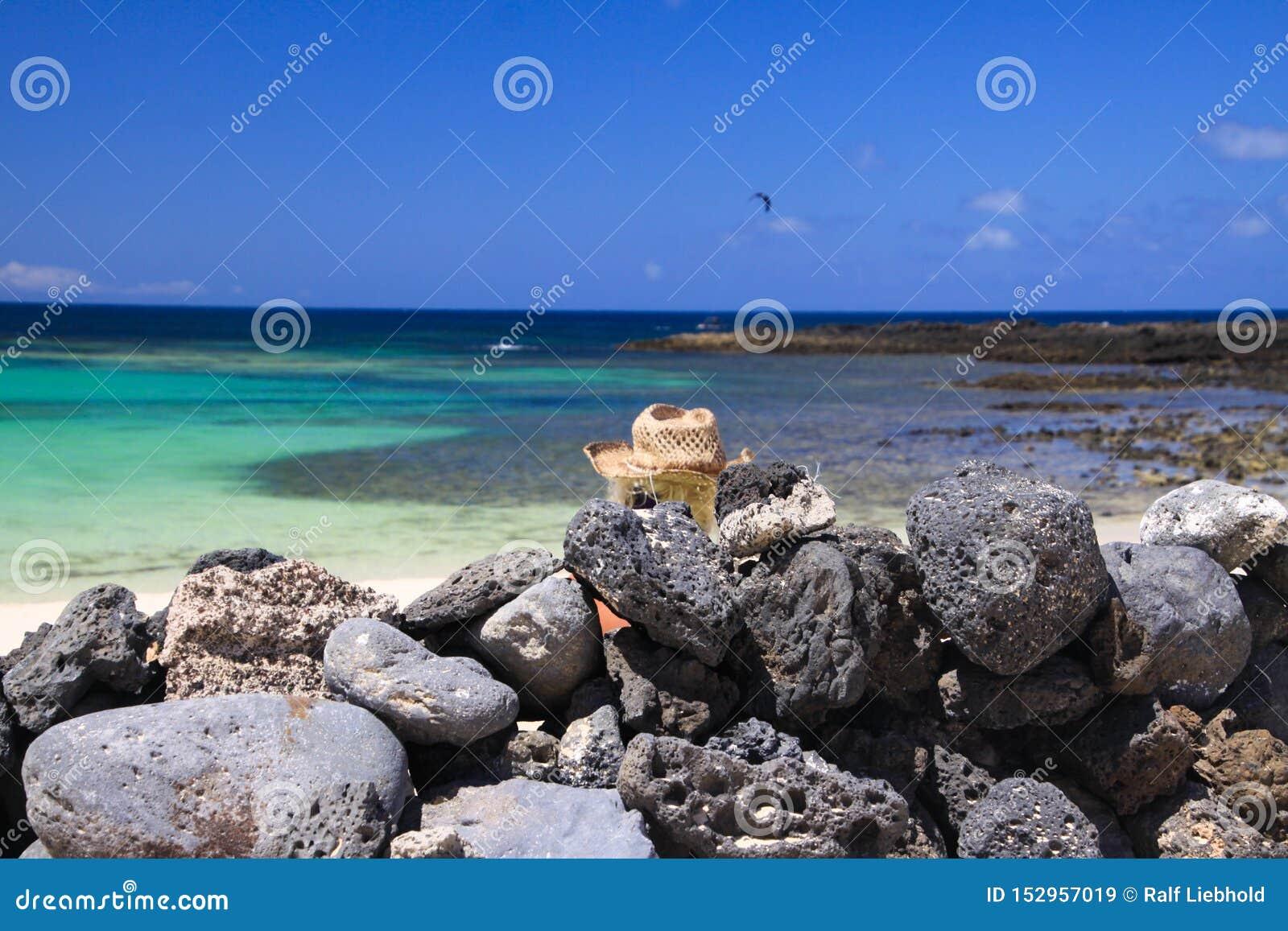 Голова белокурой женщины с соломенной шляпой сидя за стеной сложенных естественных утесов на пляже с океаном бирюзы