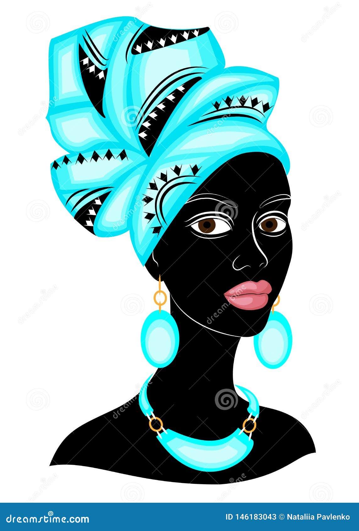 Голова сладкой дамы На голове Афро-американской девушки яркий голубой шарф, тюрбан Женщина красива и