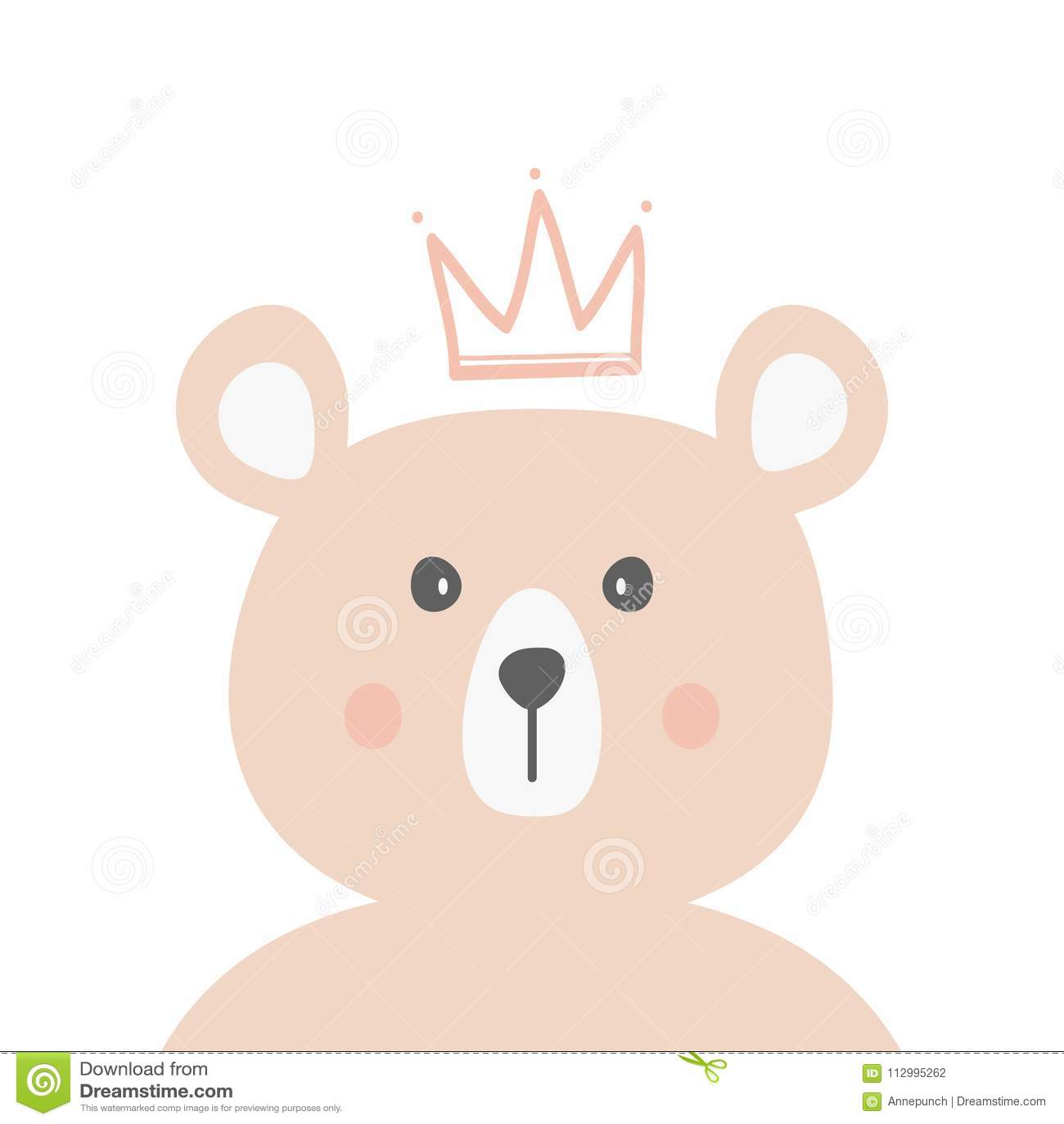 Голова смешного медведя с кроной Нарисовано вручную животное милое