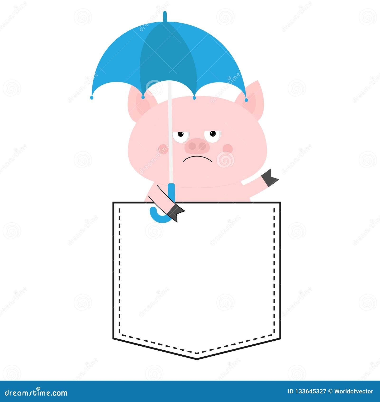 Голова стороны свиньи в кармане Зонтик шарж животных милый Piggy характер поросенка Штриховой пунктир Белый и черный цвет рубашка