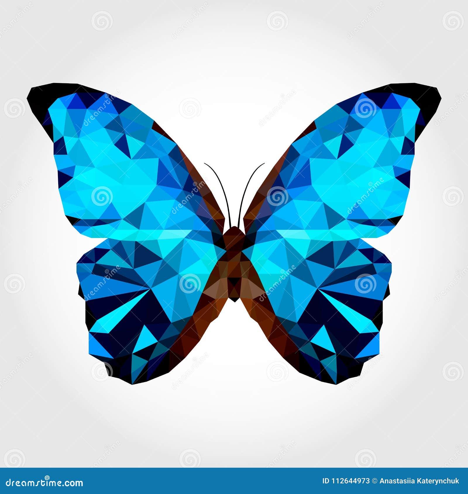 Голубая бабочка на белом blackground