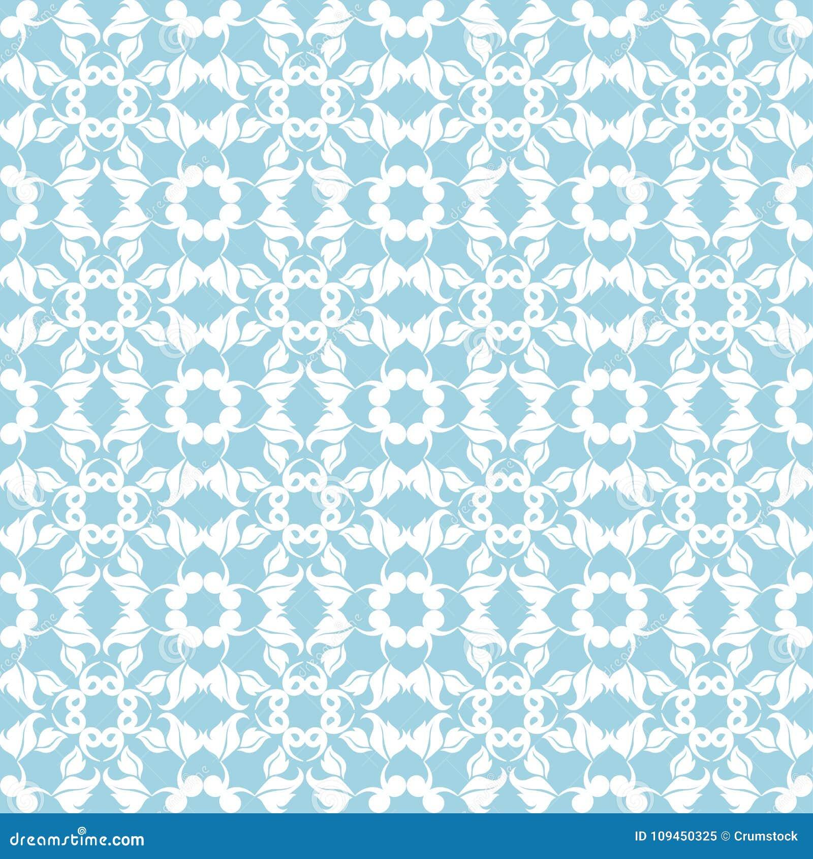 Голубая и белая флористическая безшовная картина