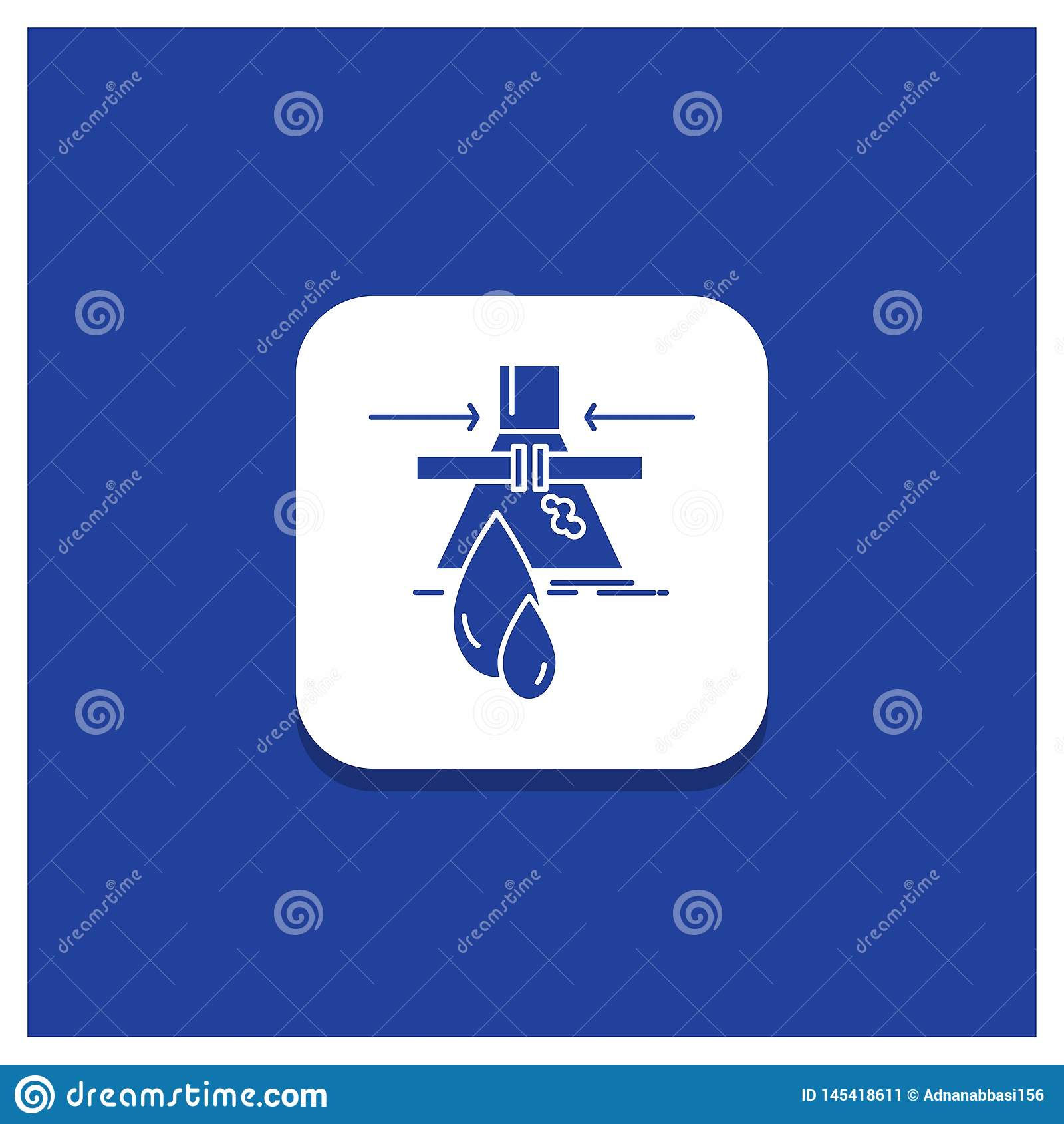 Голубая круглая кнопка для химиката, утечки, обнаружения, фабрики, значка глифа загрязнения