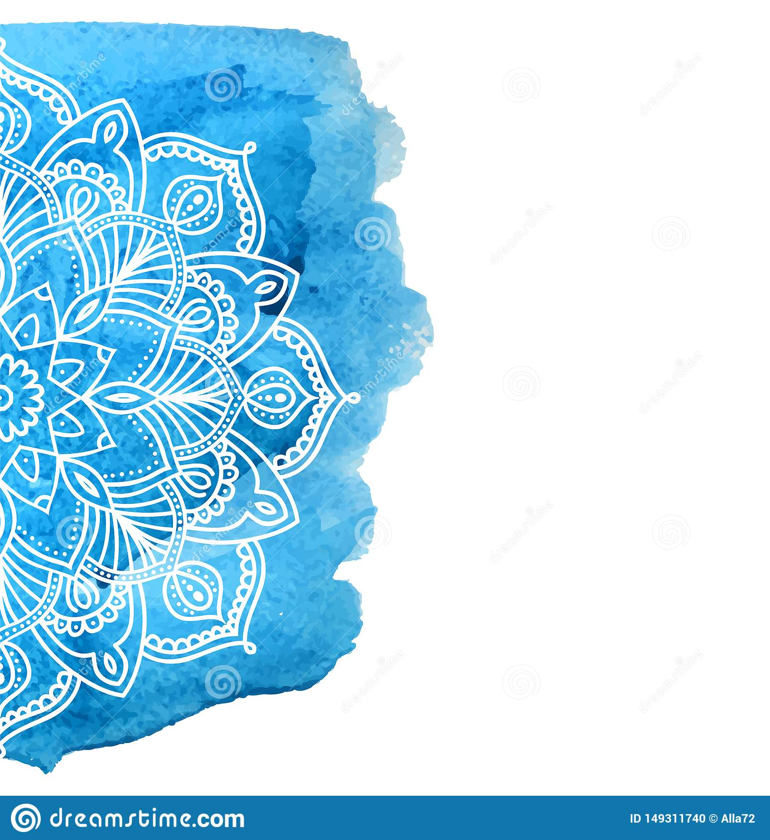 Голубая предпосылка краски акварели с белой рукой нарисованной вокруг doodles и мандал дизайн фона