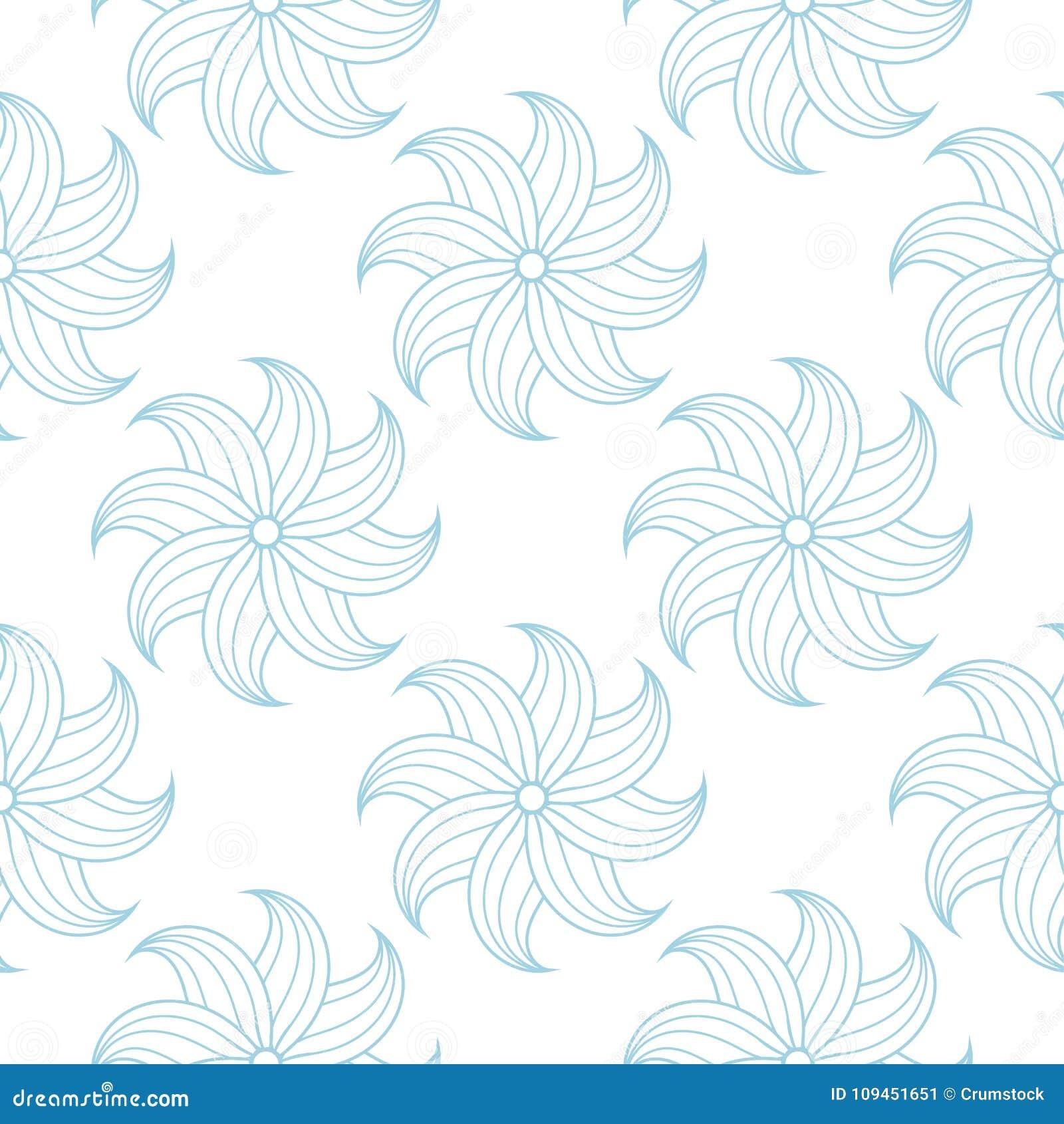 Голубая флористическая безшовная картина на белой предпосылке