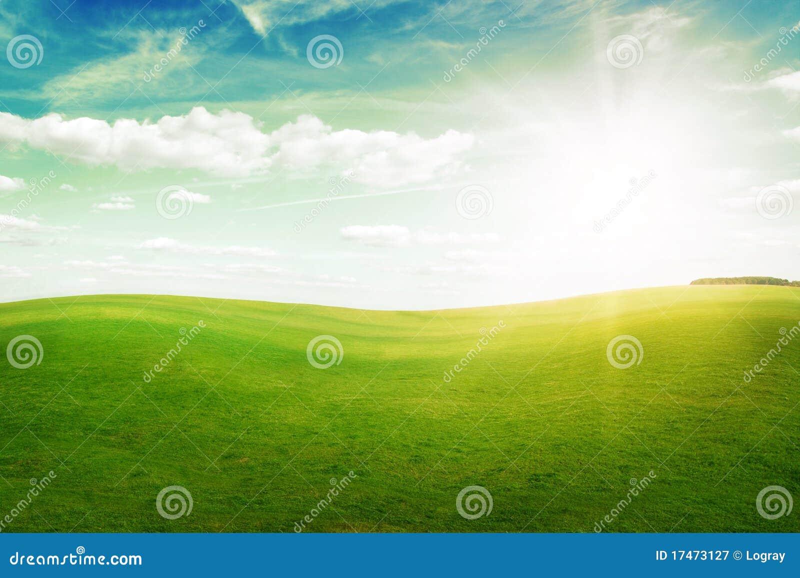 голубое солнце неба полдня зеленых холмов травы вниз