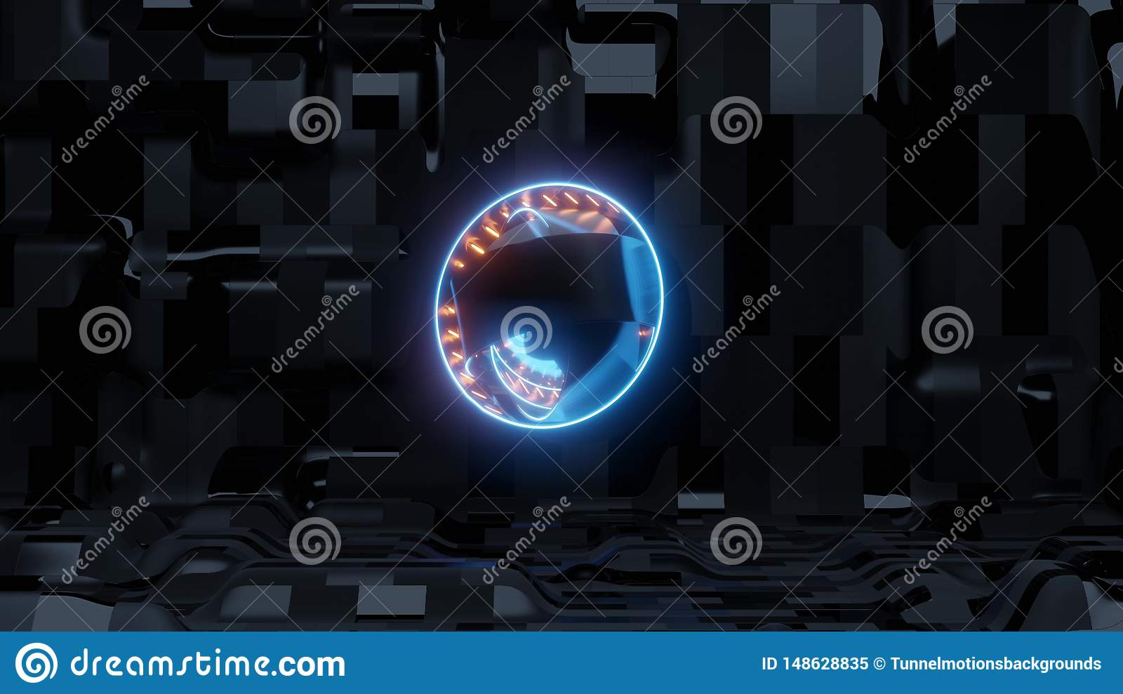 Голубой глаз scifi с предпосылкой и оранжевыми светами корабля чужеземца