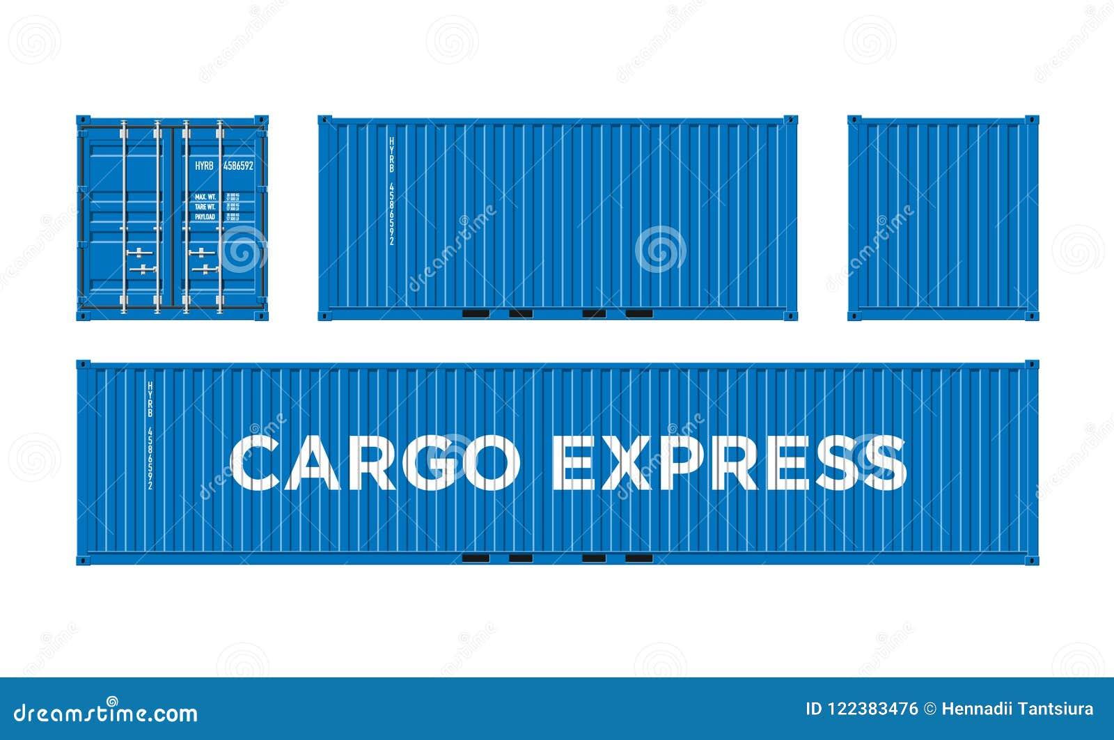 Голубой грузовой контейнер доставки для снабжения и транспорт изолированный на белой иллюстрации вектора предпосылки легкой для т