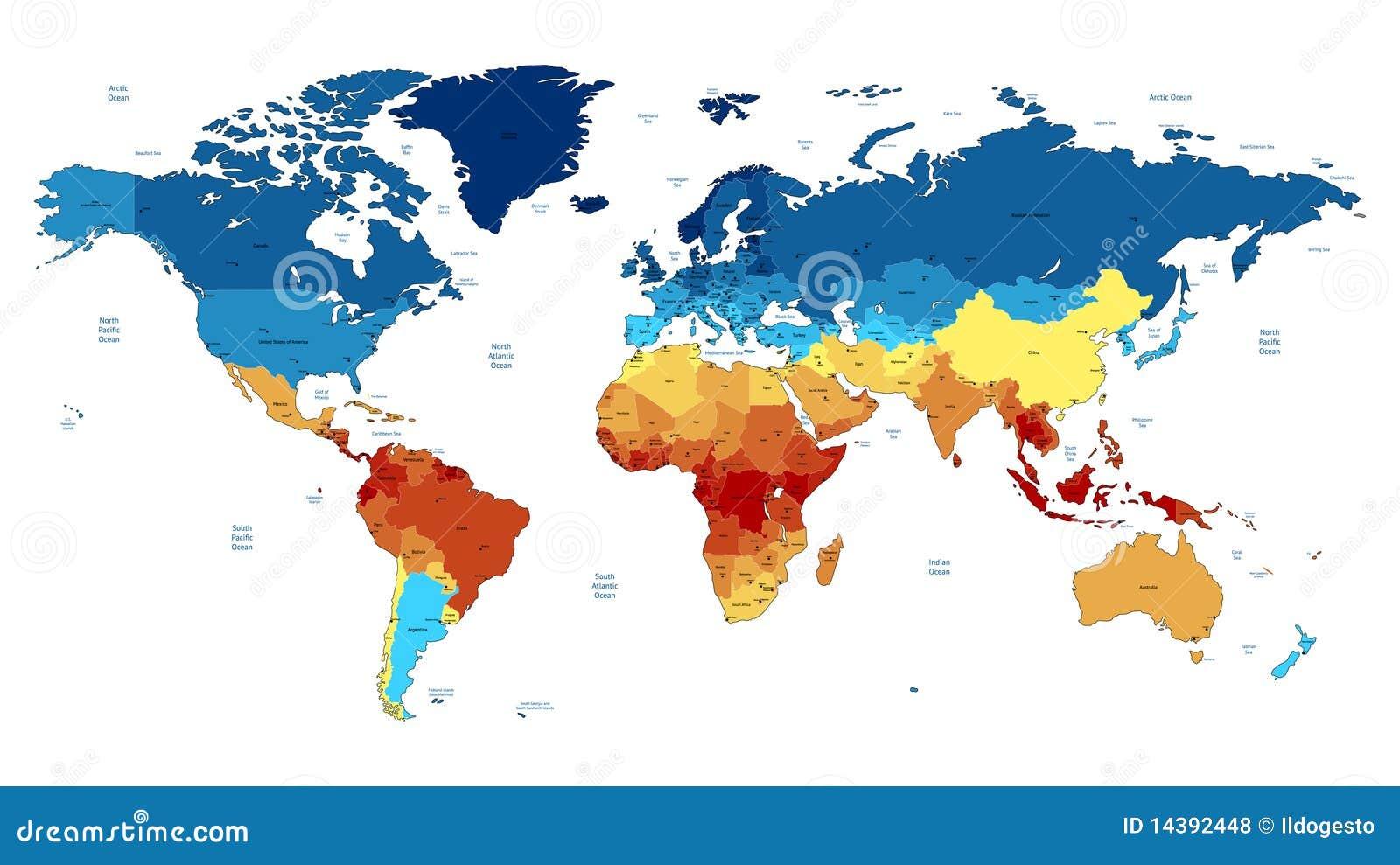 голубой детальный мир красного цвета карты