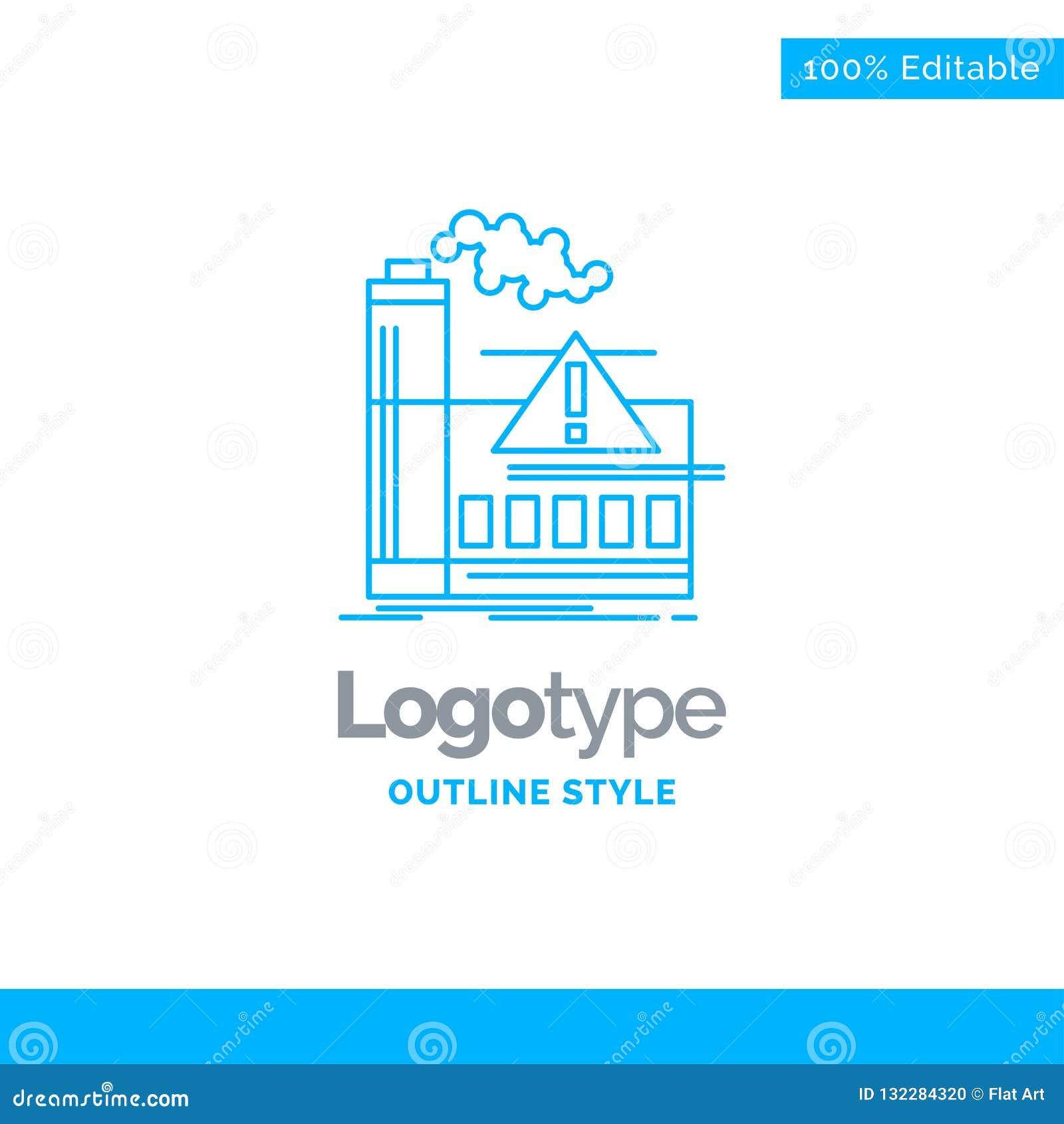 Голубой дизайн логотипа для загрязнения, фабрики, воздуха, сигнала тревоги, индустрии B
