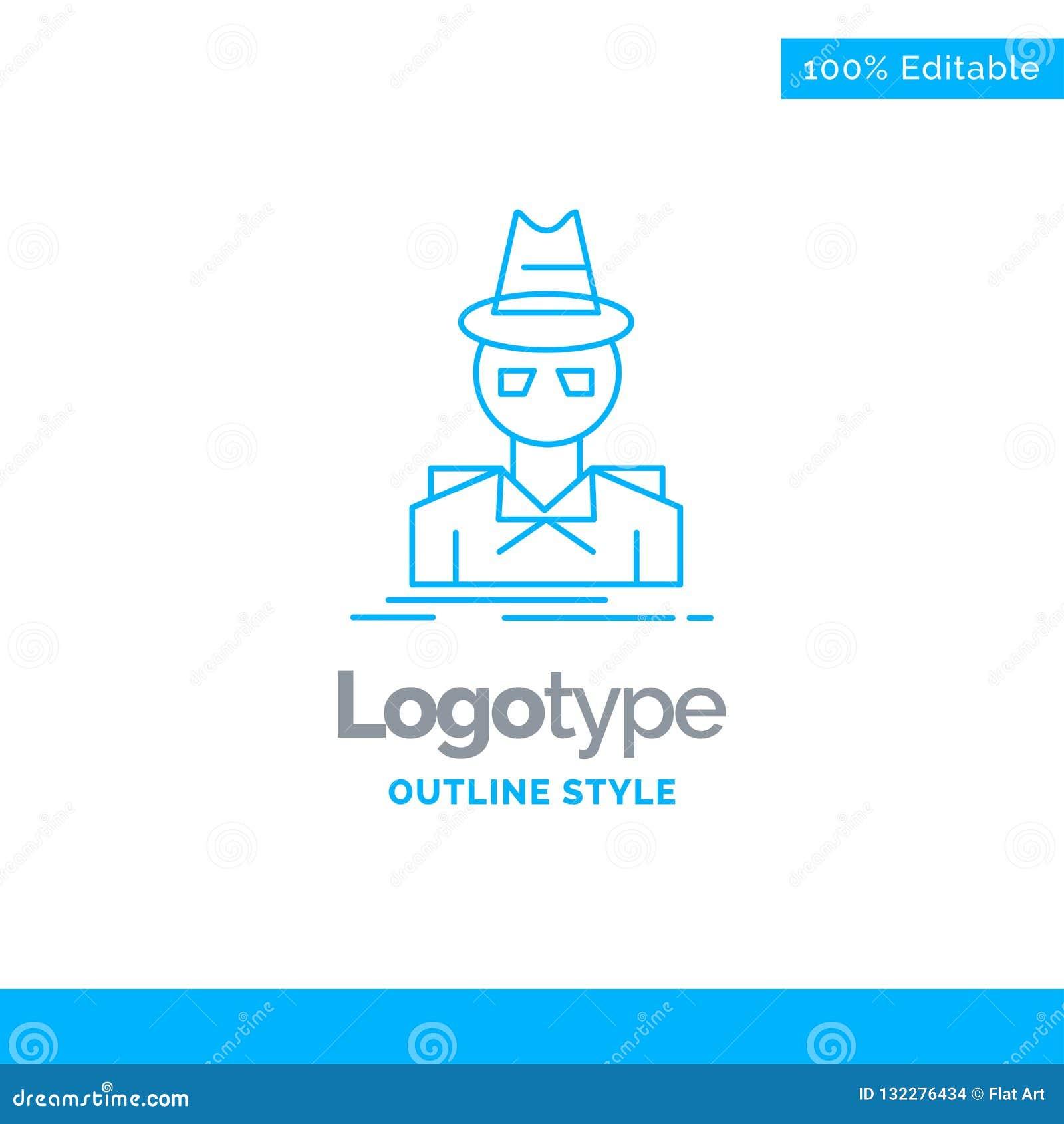 Голубой дизайн логотипа для сыщика, хакера, инкогнито, шпиона, похитителя B