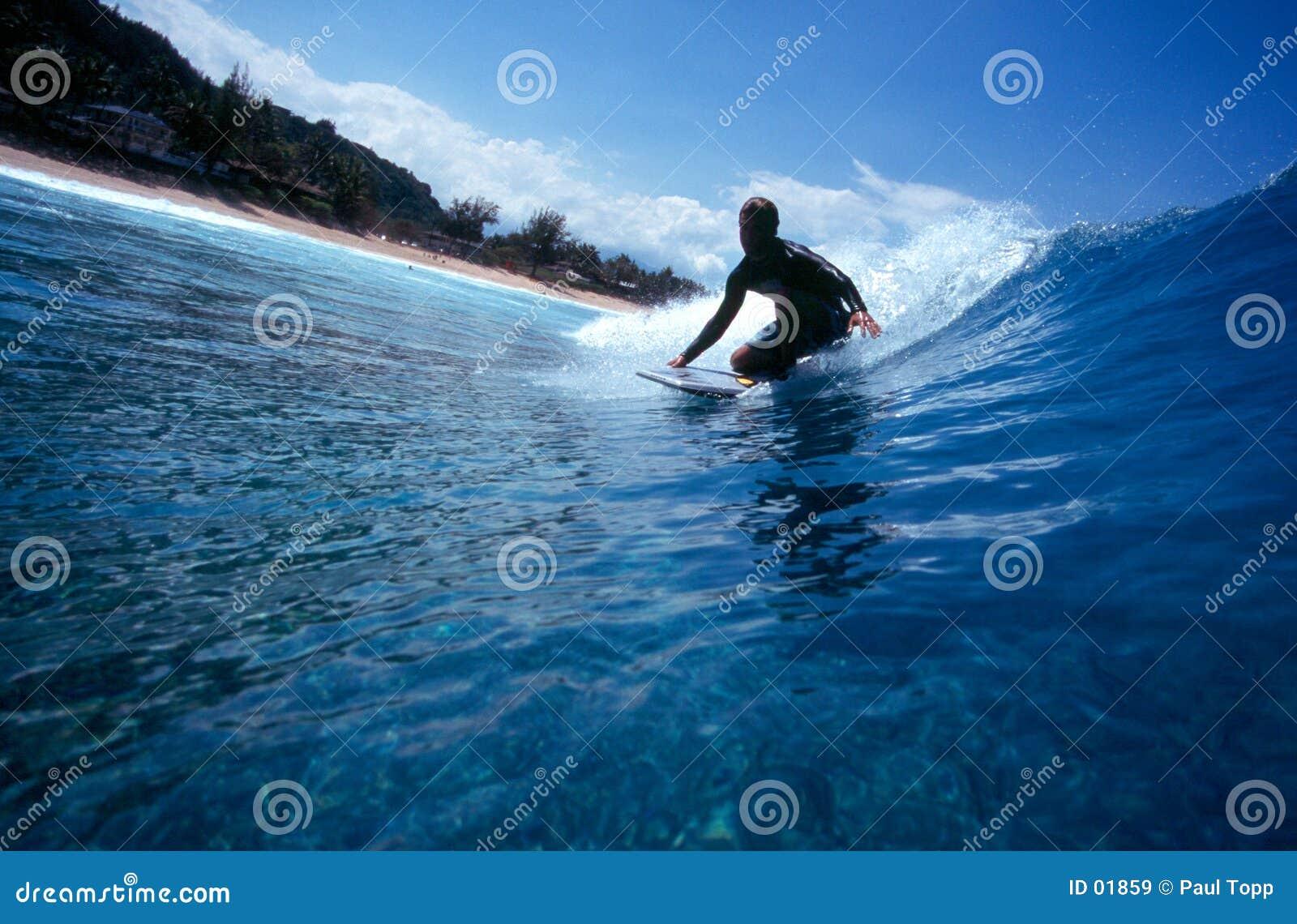 голубой заниматься серфингом Гавайских островов bodyboard