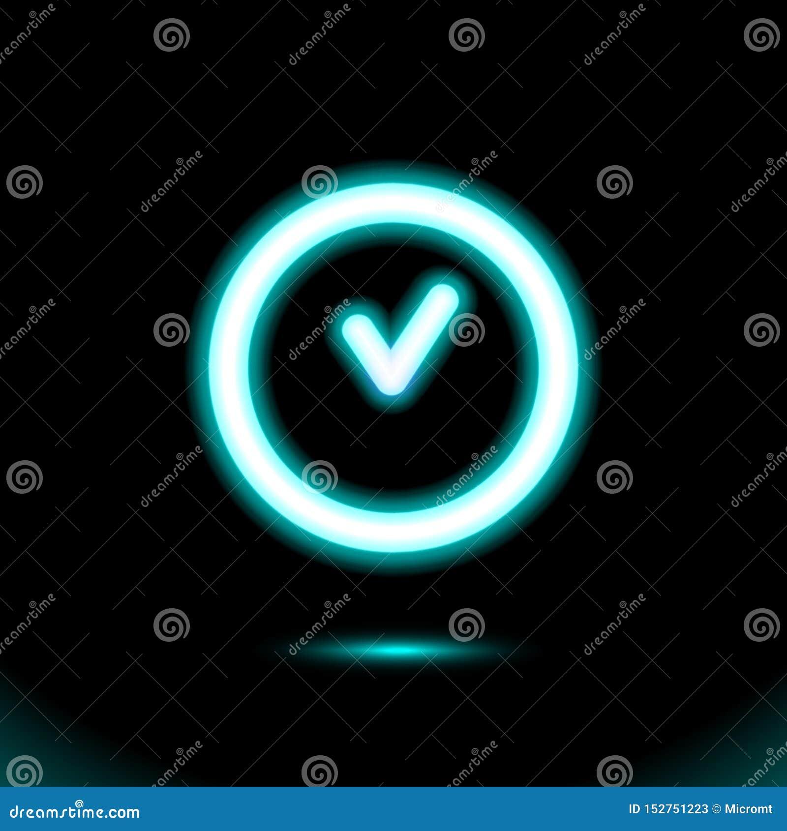 Голубой знак неоновой лампы, значок часов накаляя, свет кнопки Символ для дизайна на черной предпосылке Современный дневной объек