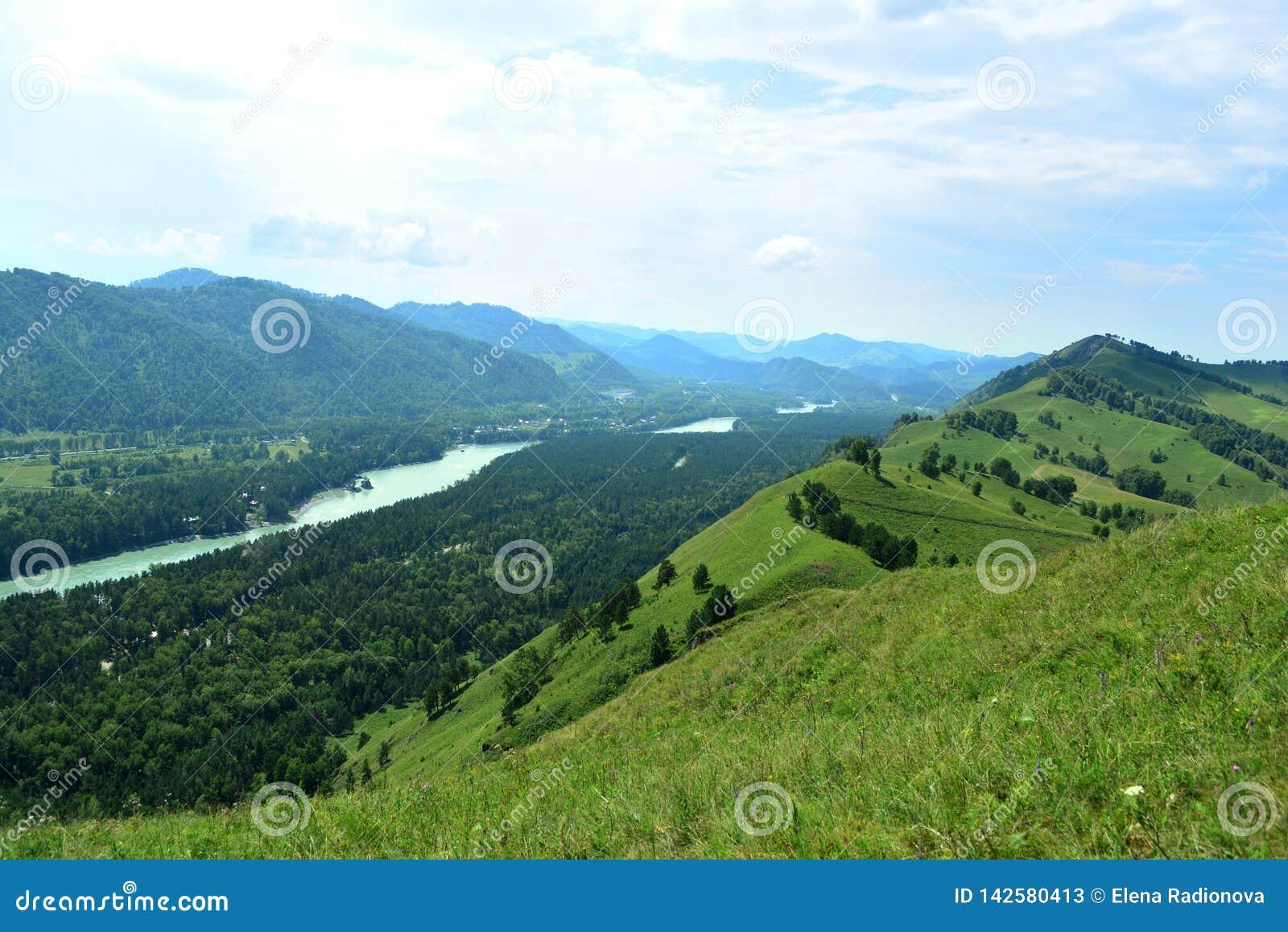 Голубой ландшафт реки Katun дневного времени гор Altai