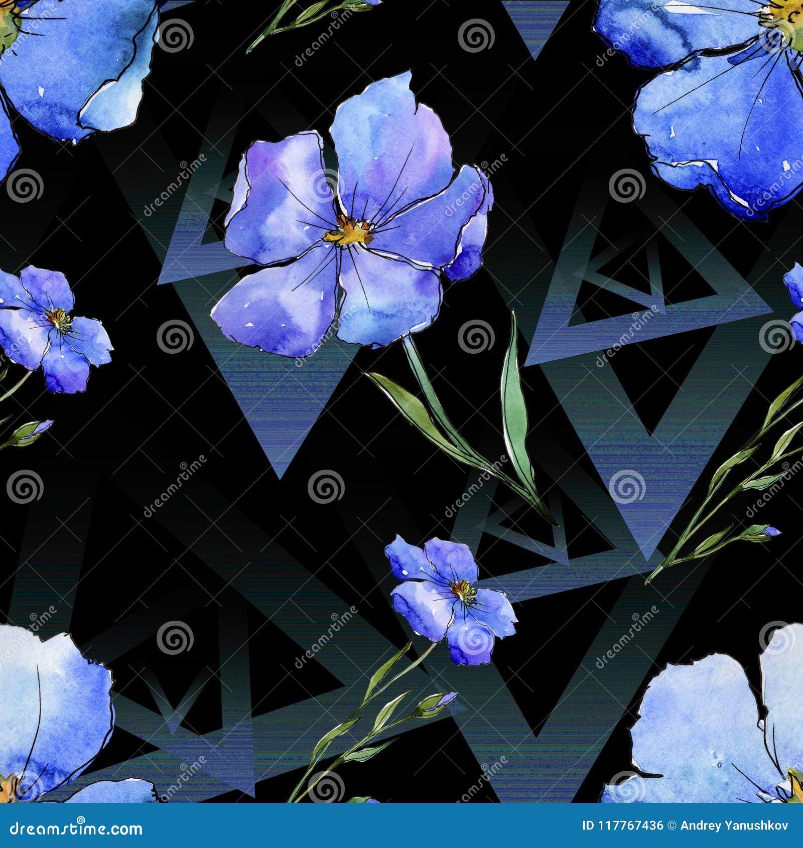 голубой льнен Флористический ботанический цветок Безшовная картина предпосылки Текстура печати обоев ткани