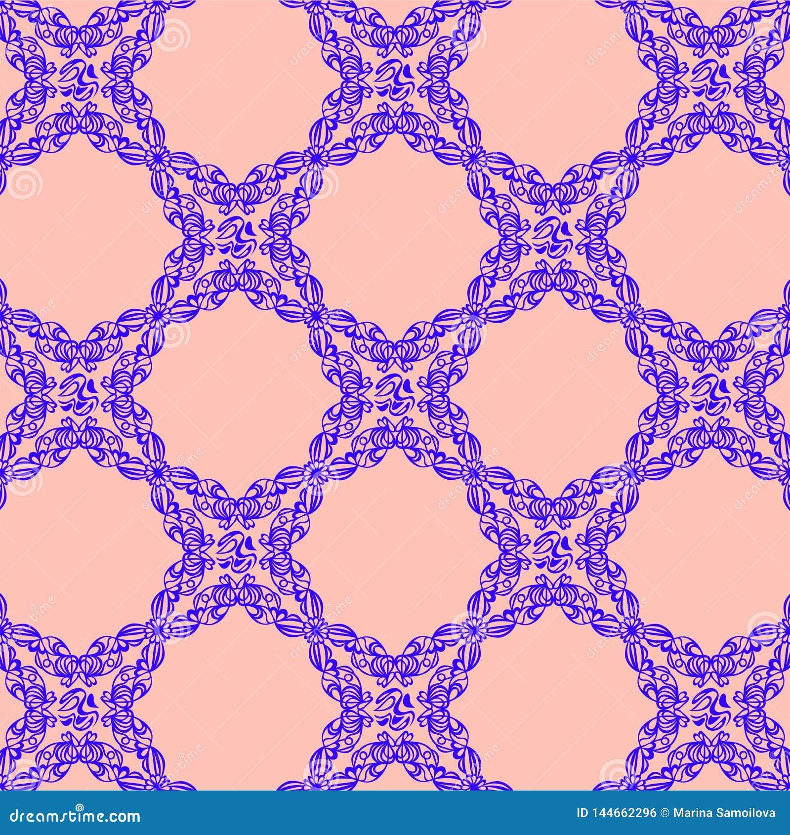 Голубой орнамент на розовой предпосылке