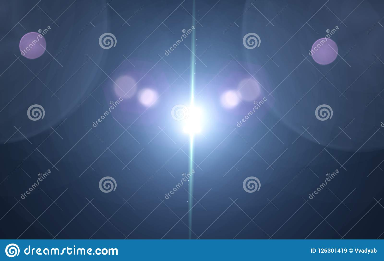 Голубой пирофакел объектива числа с ярким светом в черной предпосылке используемой для текстуры