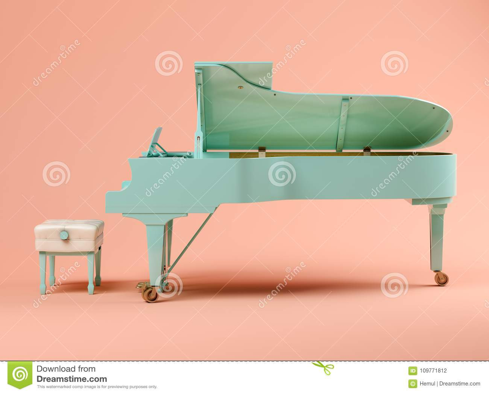 Голубой рояль на розовой иллюстрации предпосылки 3D