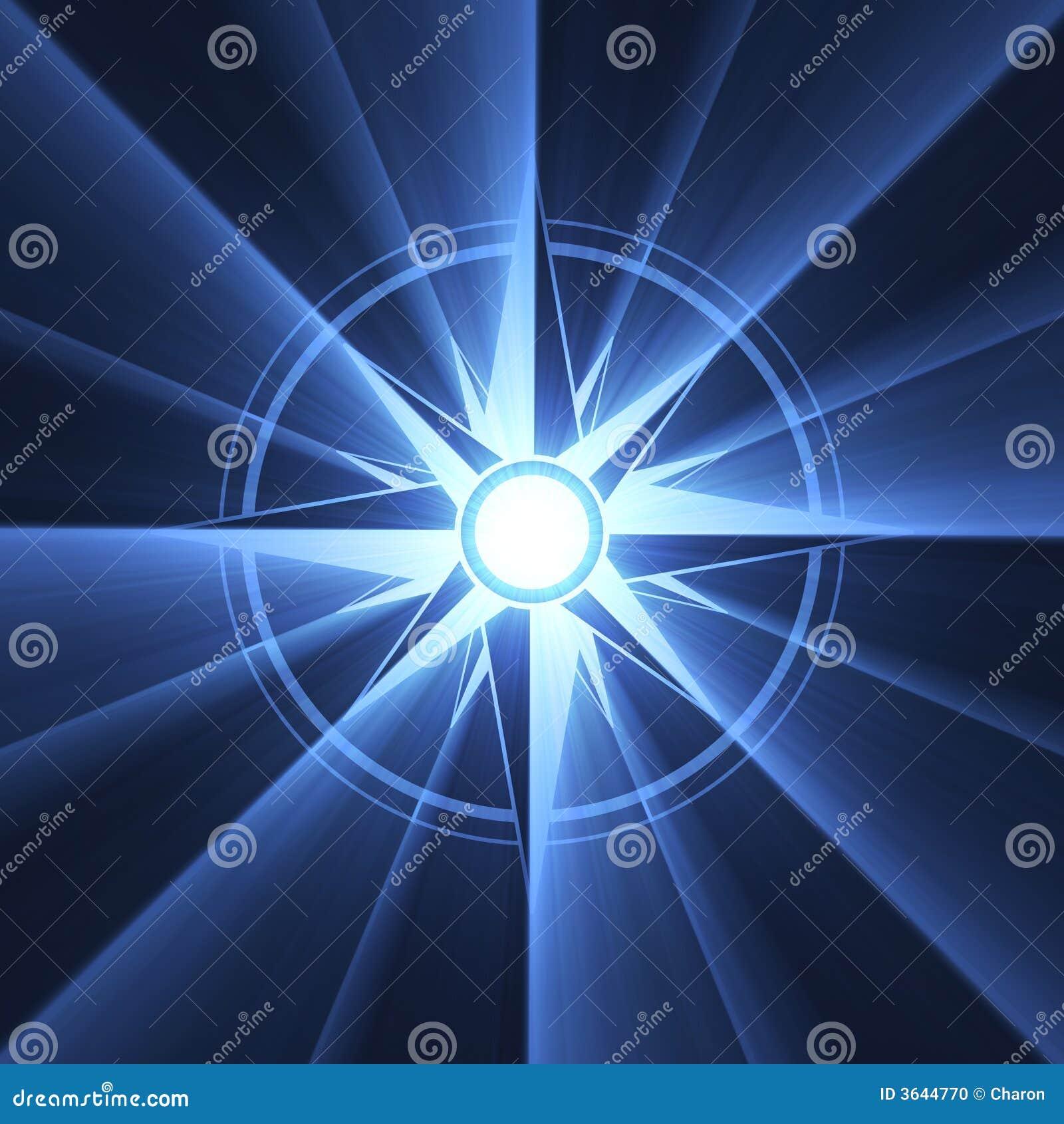 голубой символ вспыхивающей звезды компаса