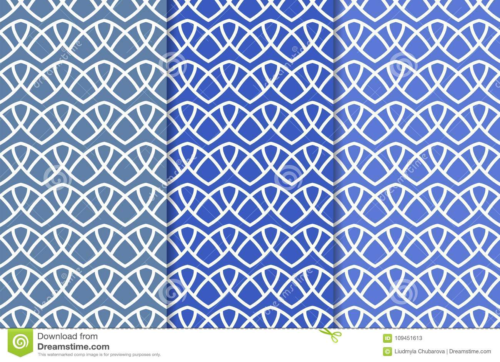 Голубые геометрические орнаменты делает по образцу безшовный комплект