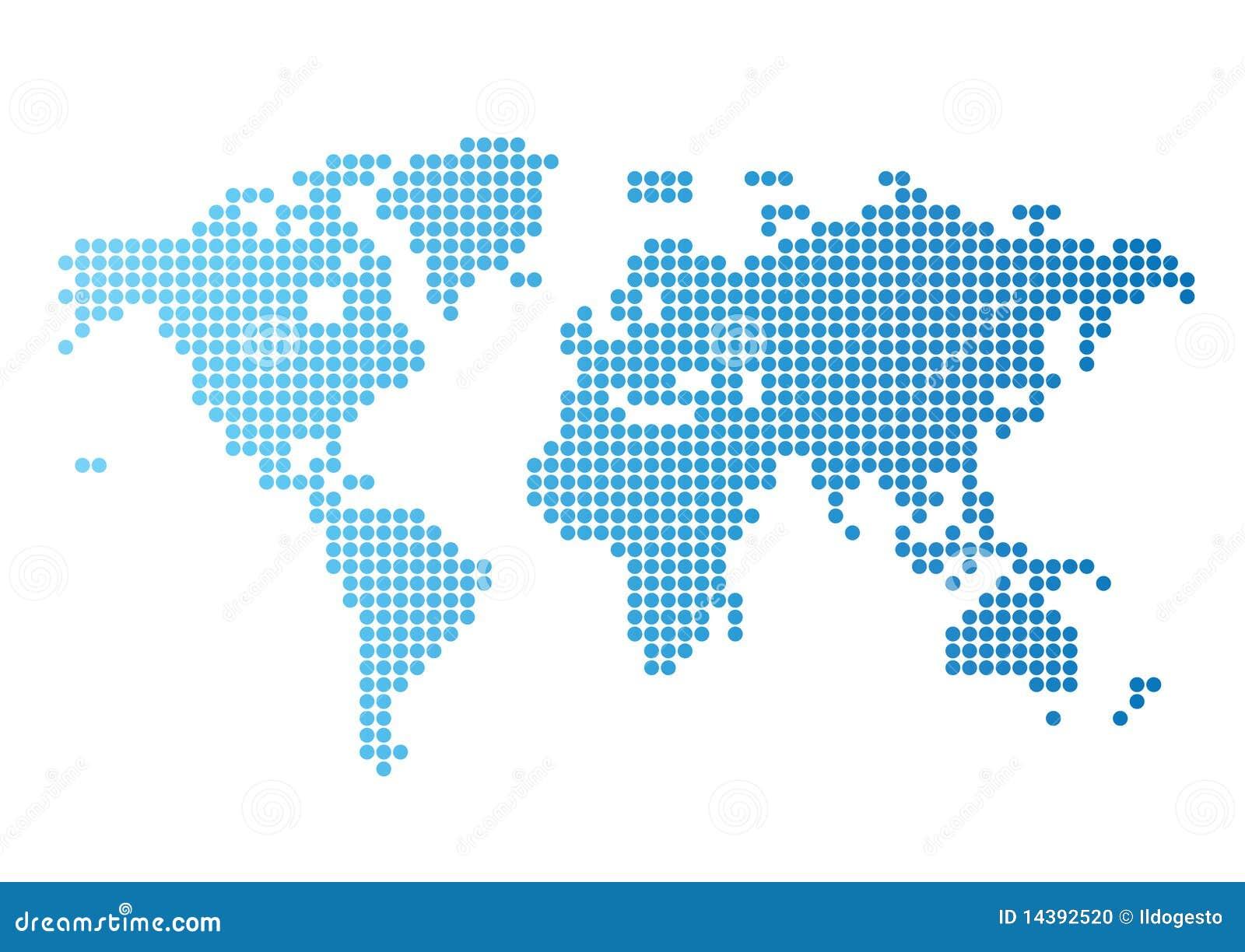голубые многоточия составляют карту вокруг мира
