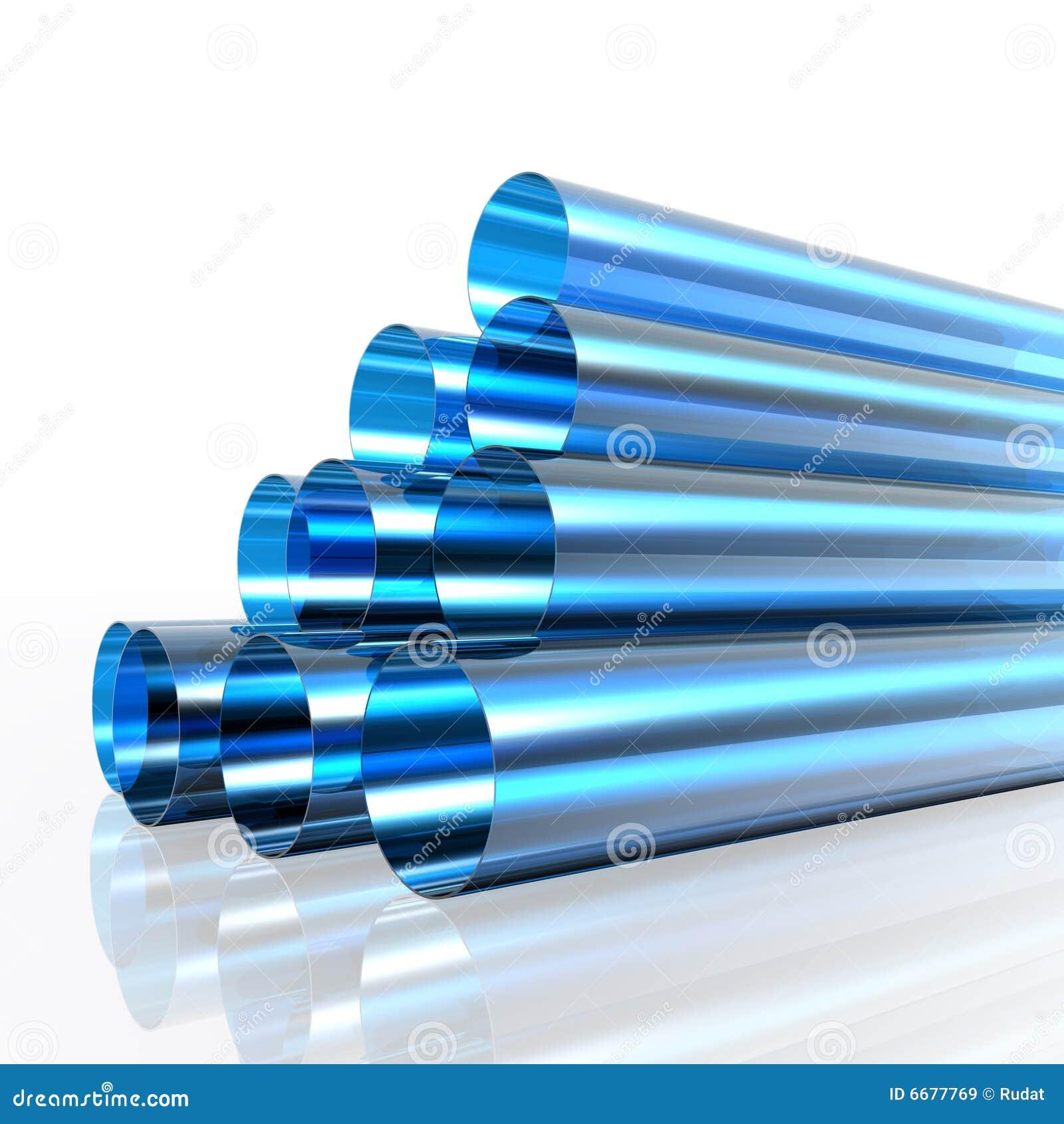 голубые трубы прозрачные