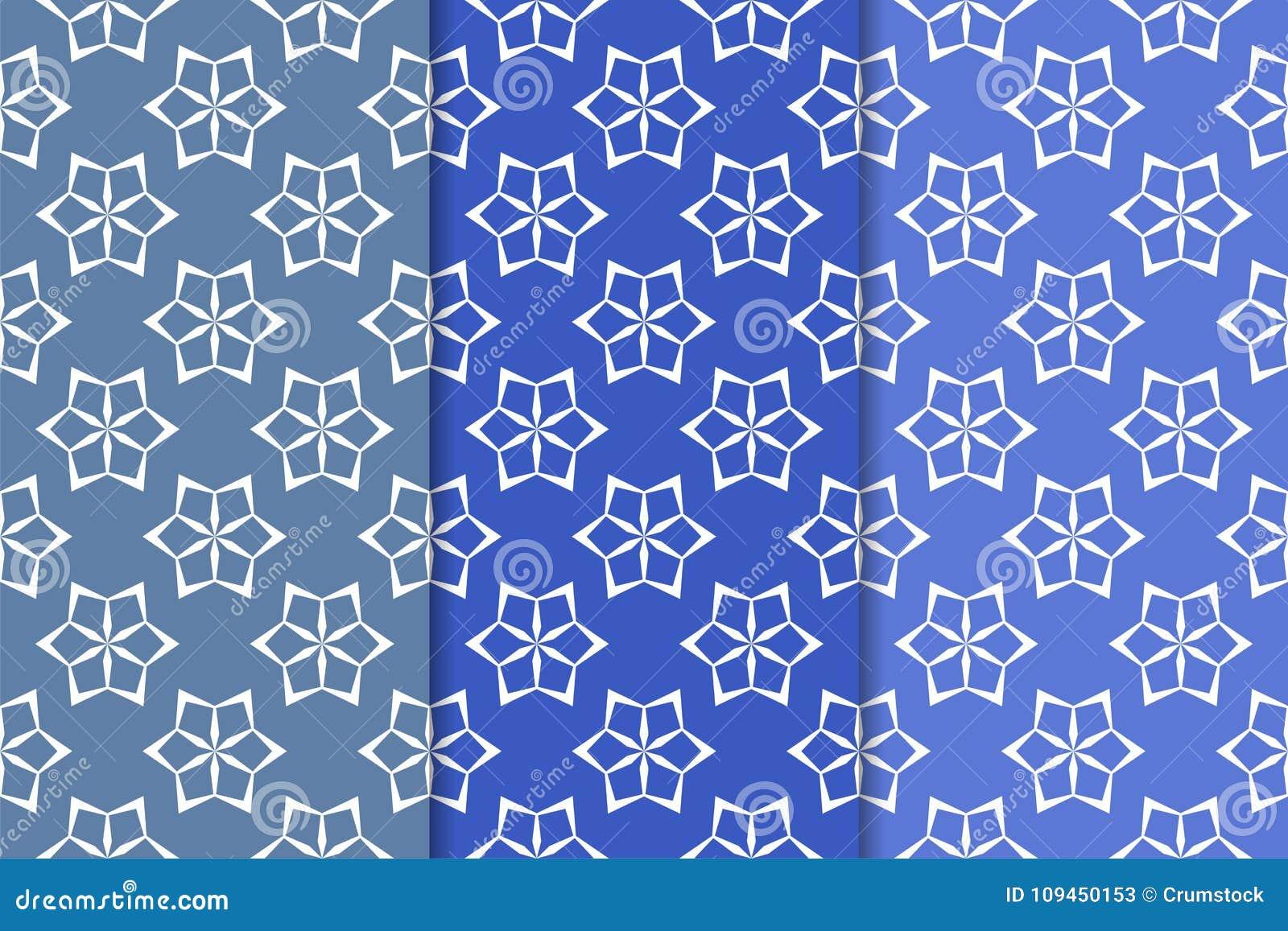 Голубые флористические орнаменты Комплект вертикальных безшовных картин