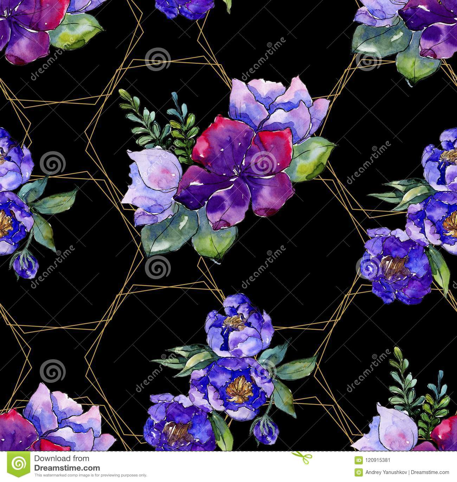 Голубые цветки букета Флористический ботанический цветок Безшовная картина предпосылки