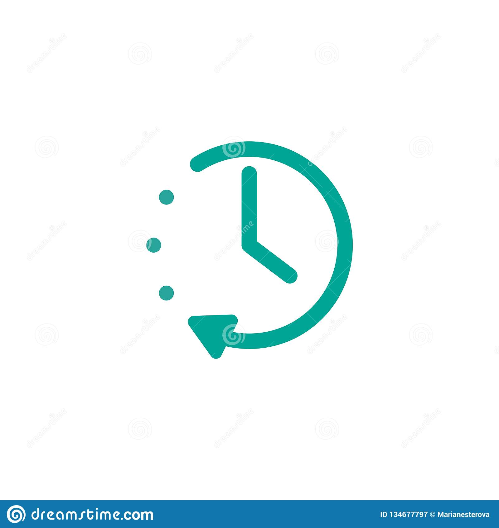 Голубые часы с и круглая стрелка Плоский значок изолированный на белизне Пиктограмма часов повторения