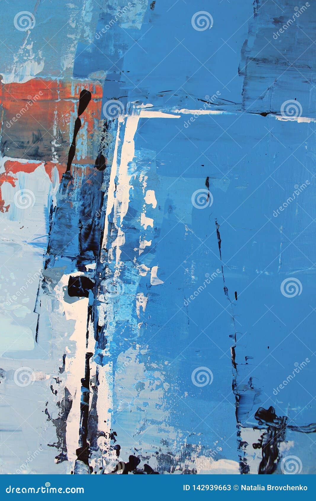 Голубые яркие цвета на холсте Картина маслом Предпосылка абстрактного искусства Картина маслом на холсте Текстура цвета Часть худ