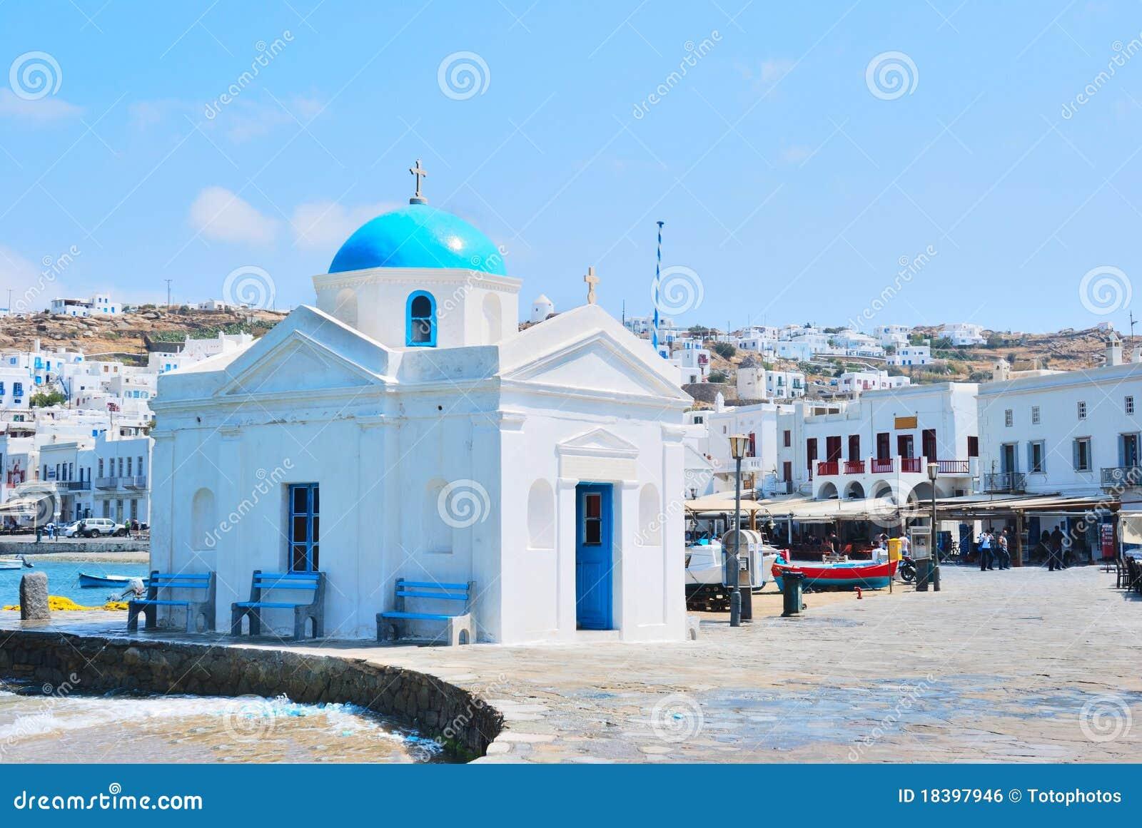 голубые mykonos церков