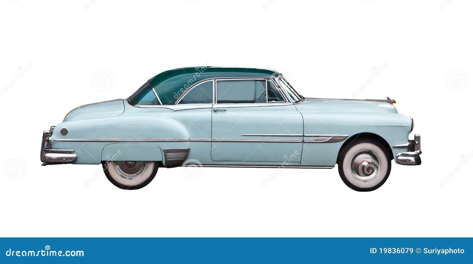 голубым ретро изолированное автомобилем светлое
