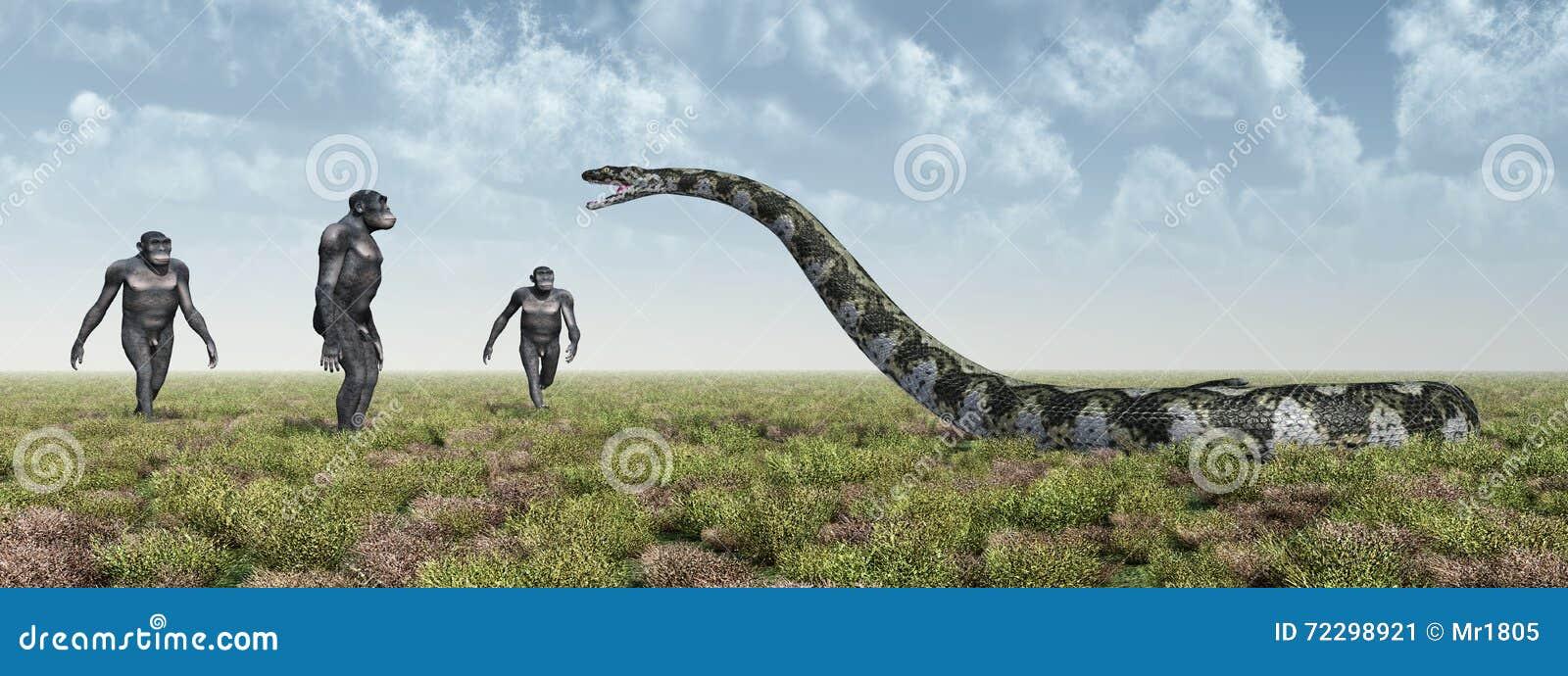 Download Гомо Habilis и Titanoboa иллюстрация штока. иллюстрации насчитывающей bushes - 72298921