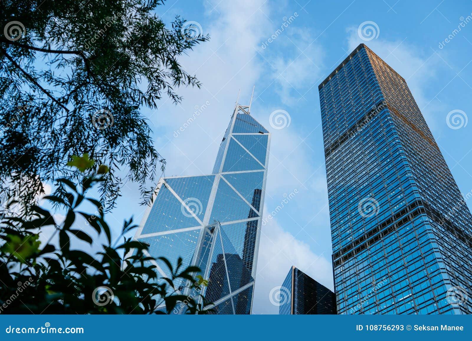 ГОНКОНГ - 26-ОЕ ИЮНЯ 2015: Современные здания в Гонконге, небоскребы