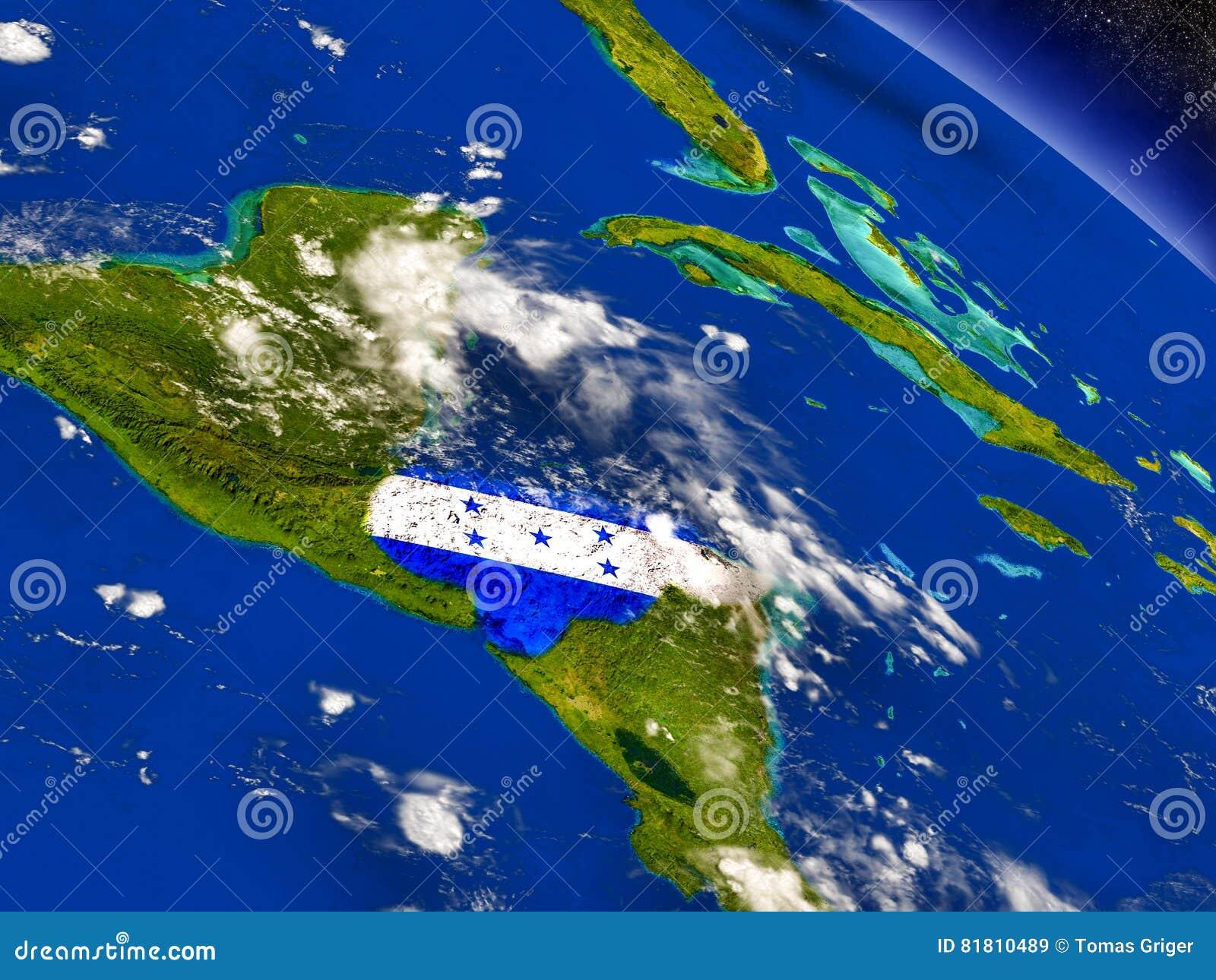 Гондурас с врезанным флагом на земле