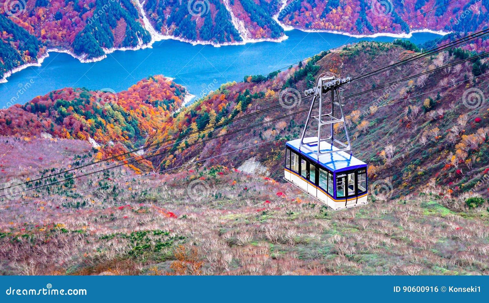 Гора и ropeway daikanbo в трассе Японии высокогорной
