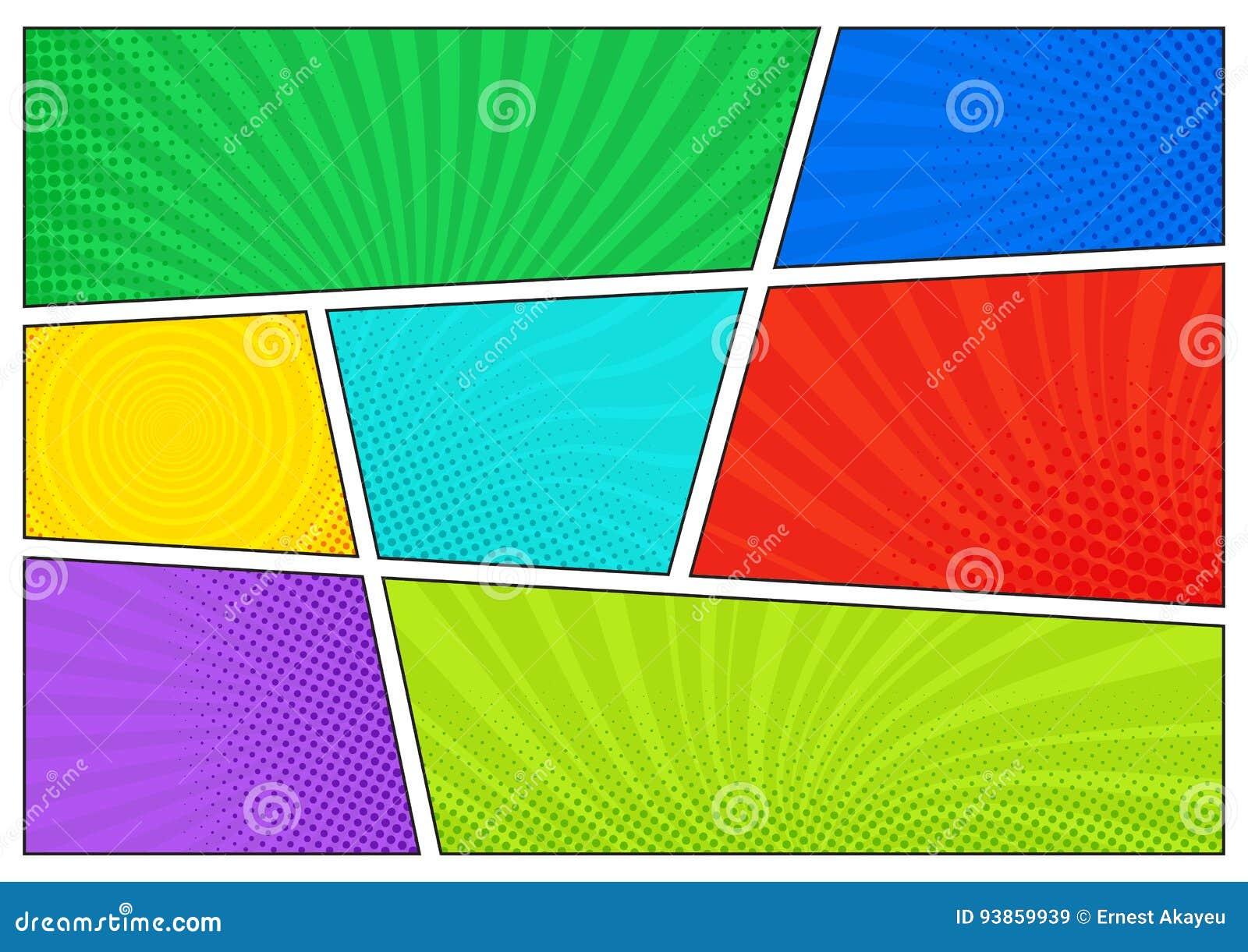 Горизонтальный фон комиксов Яркий шаблон с клетками, влияниями полутонового изображения и лучами Предпосылка вектора красочная в