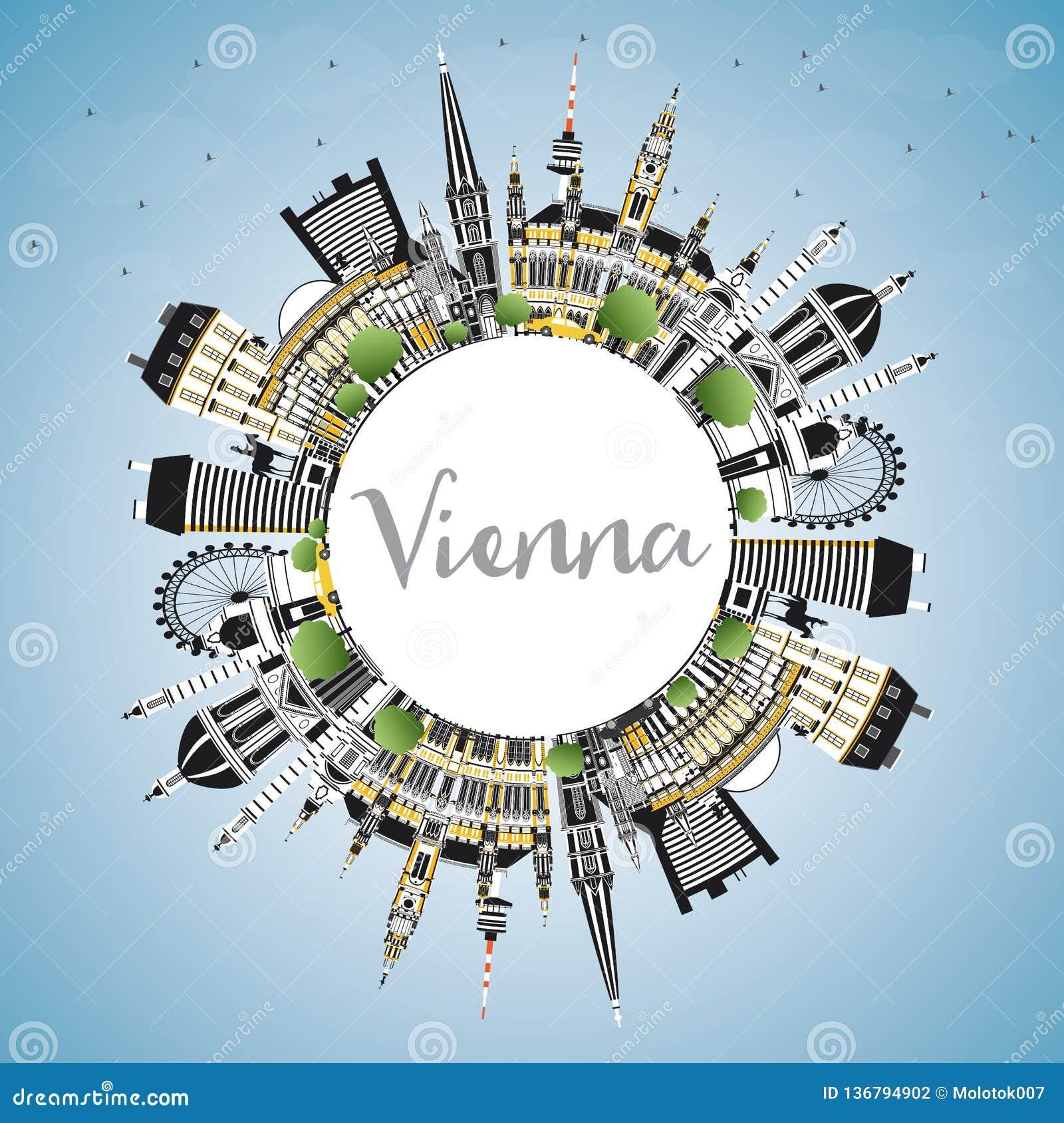 Горизонт города Австрии вены с зданиями цвета, голубым небом и космосом экземпляра