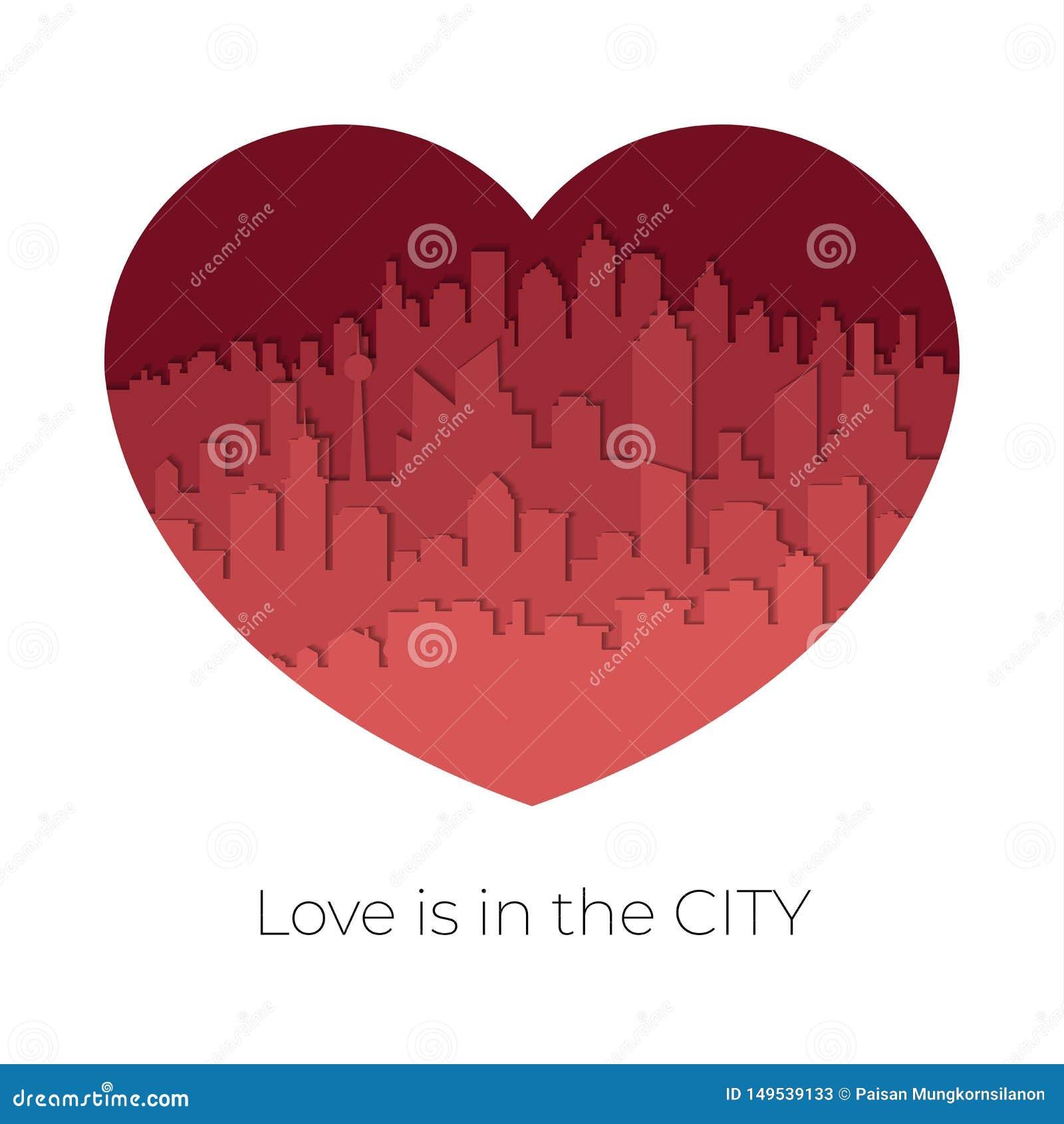 Горизонт города в красно-тоне в концепции Валентайн в сформированном сердце Бумажный стиль искусства