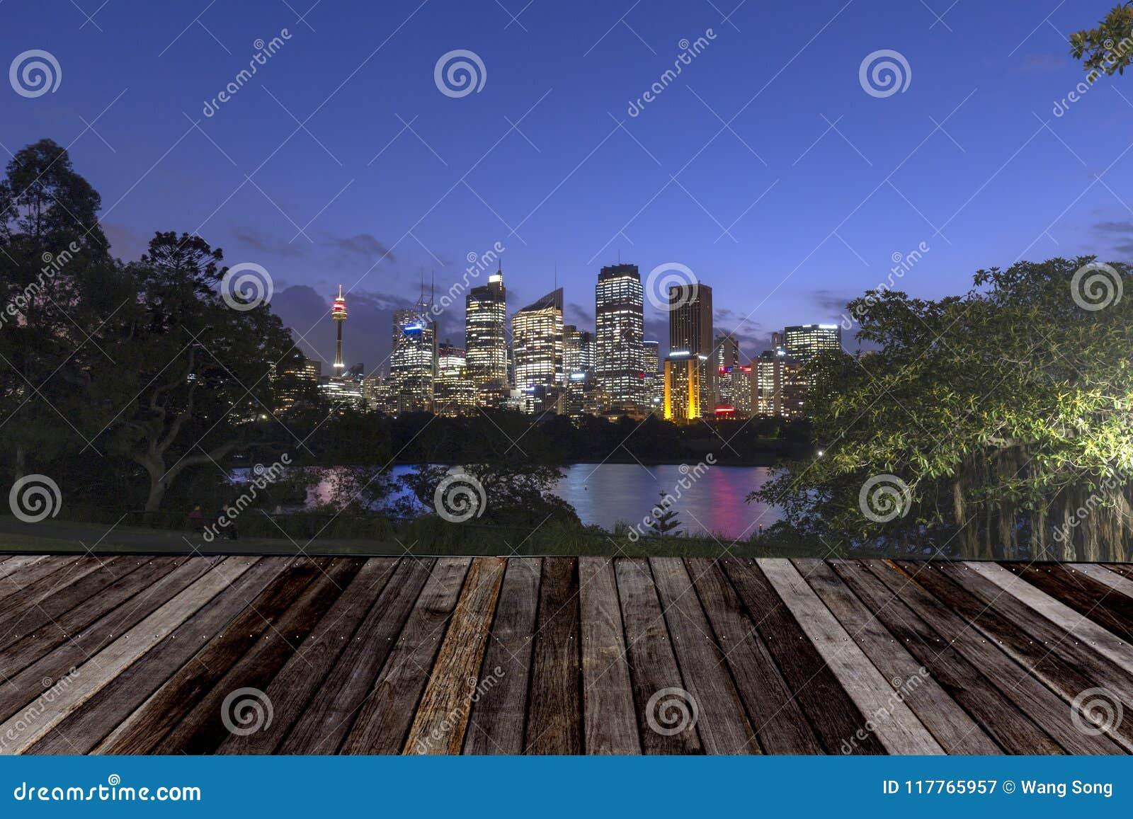 Горизонт города Сиднея на ноче