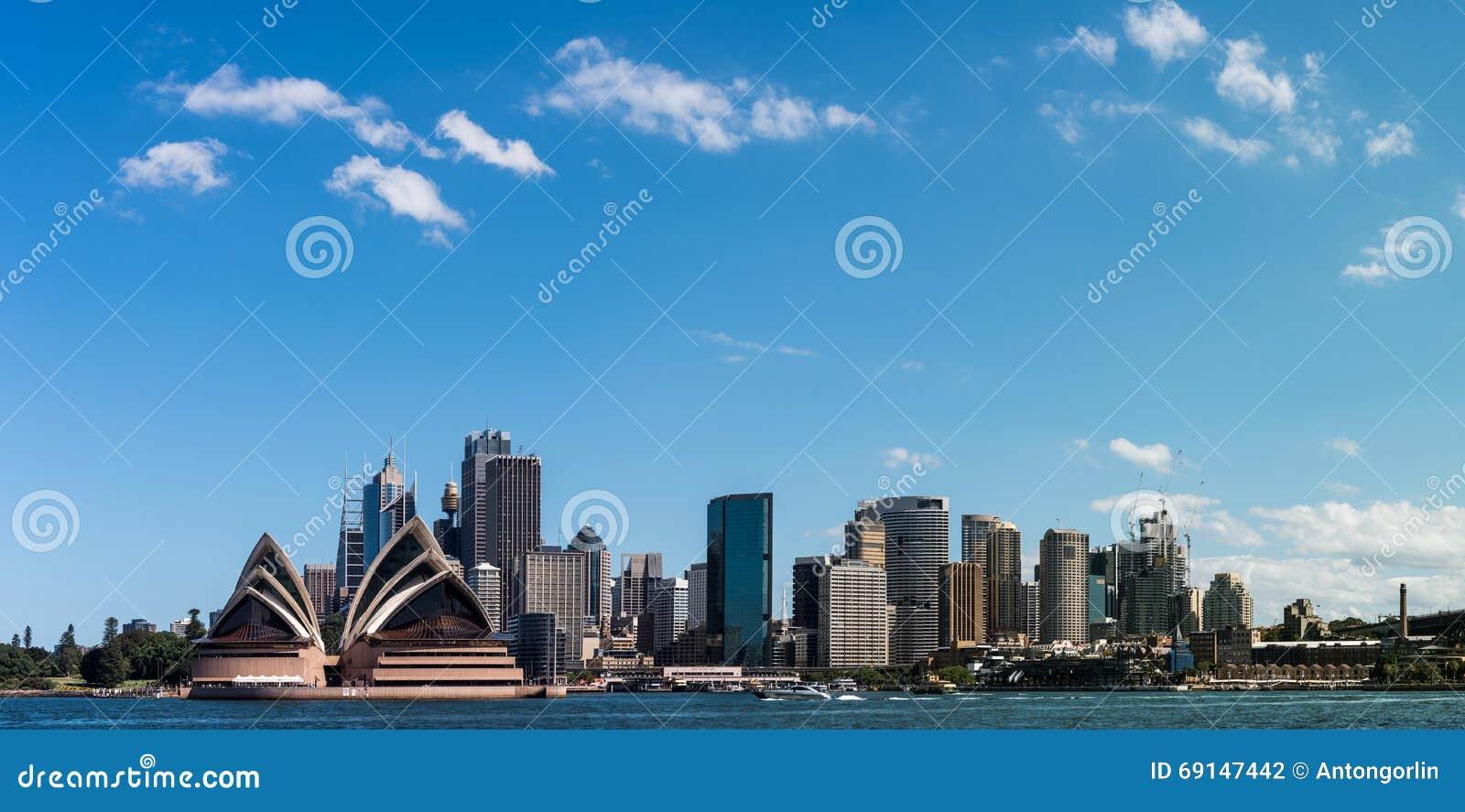 Горизонт и гавань города Сиднея