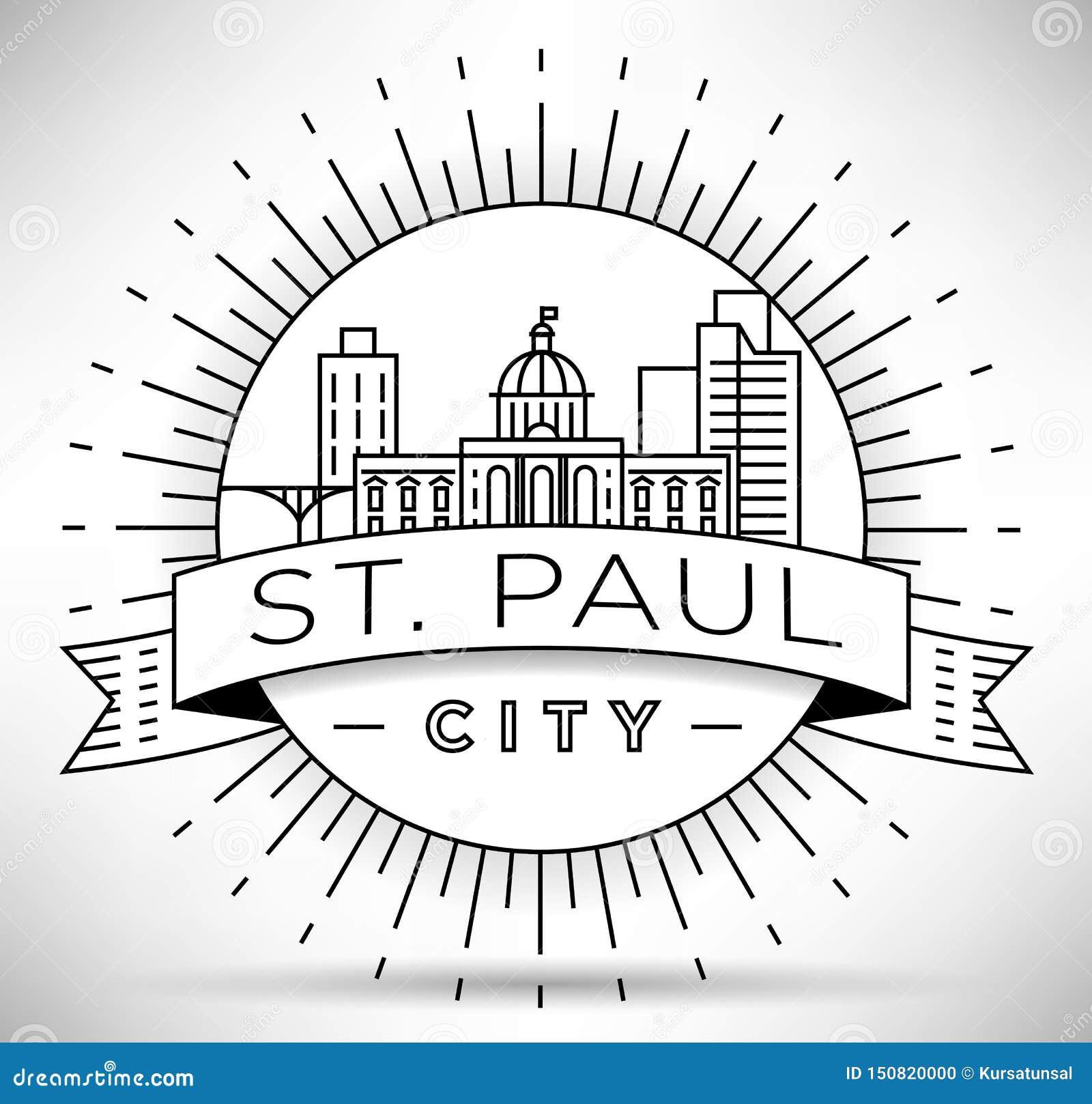 Горизонт минимального города St Paul линейный с типографским дизайном